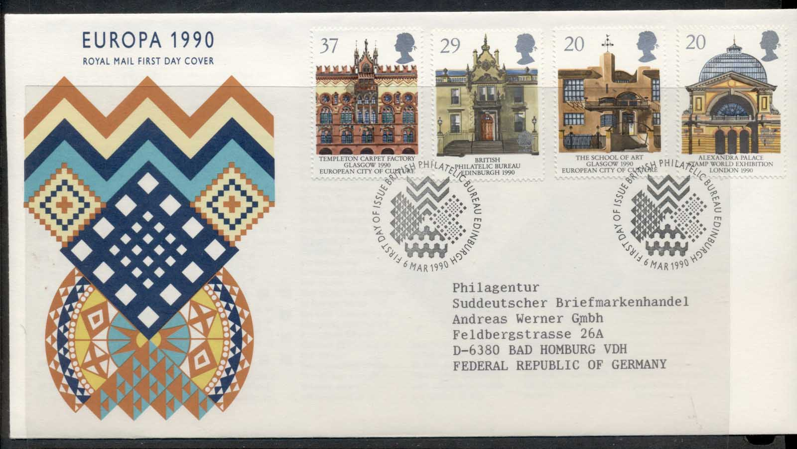 GB 1990 Europa Post Offices FDC
