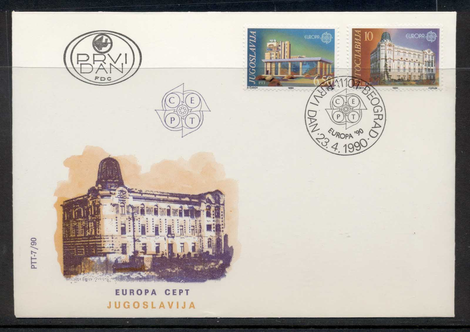 Yugoslavia 1990 Europa Post Offices FDC
