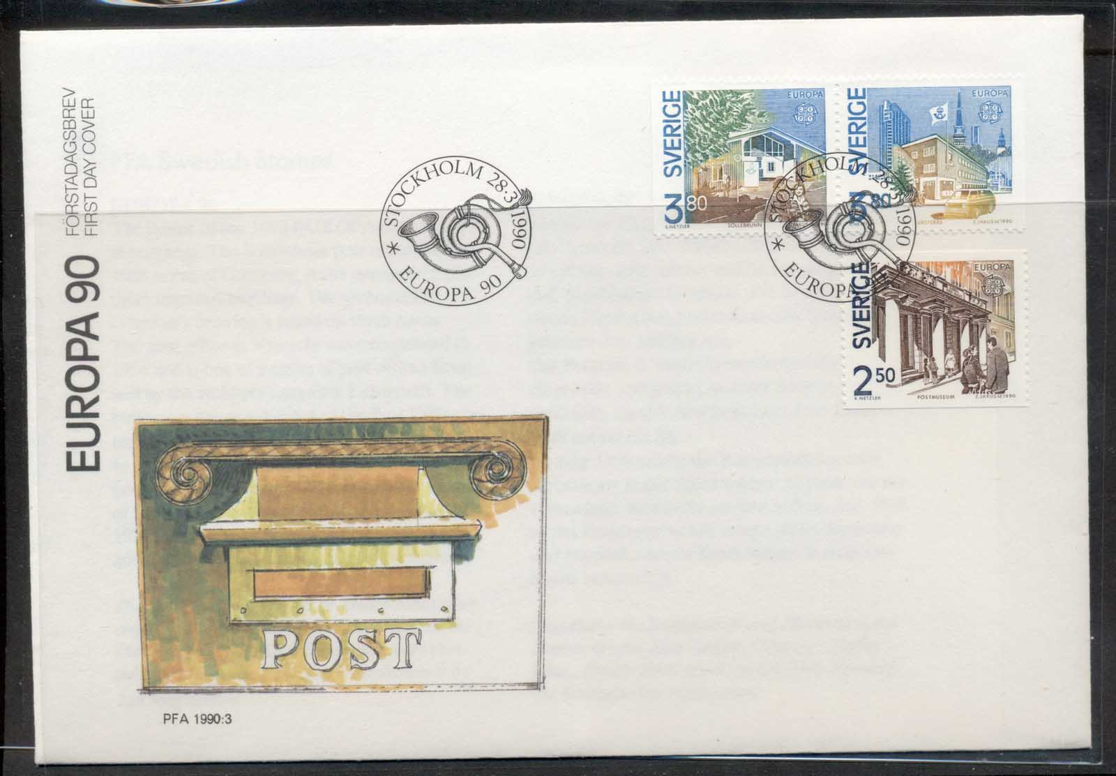 Sweden 1990 Europa Post Offices FDC