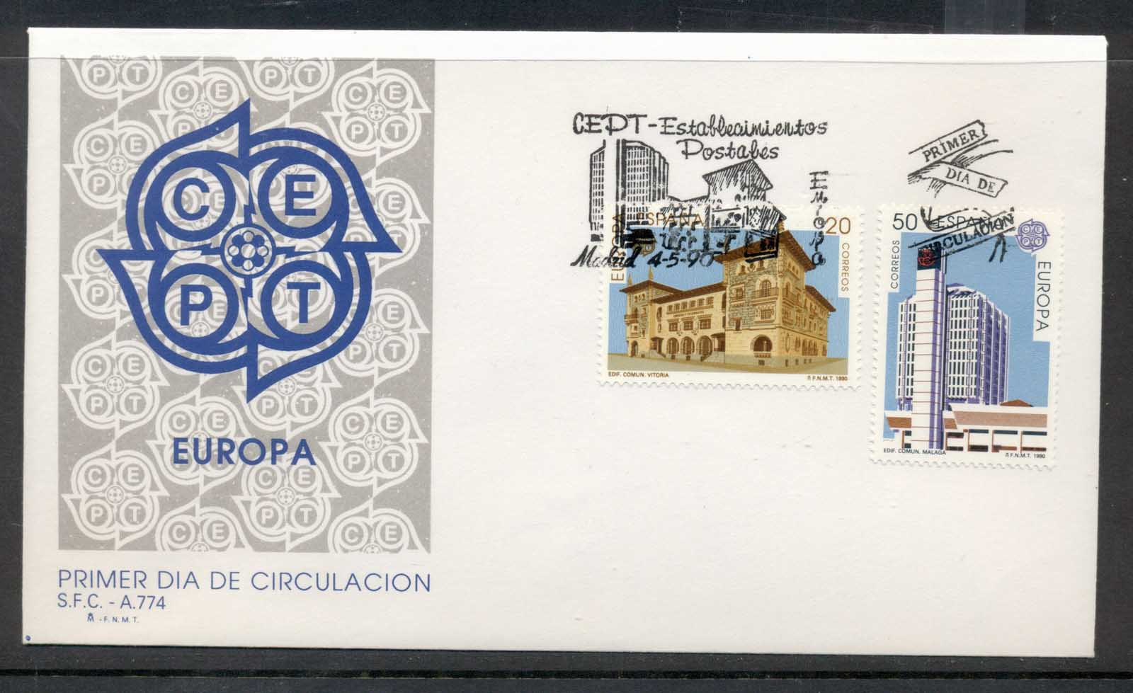 Spain 1990 Europa Post Offices FDC