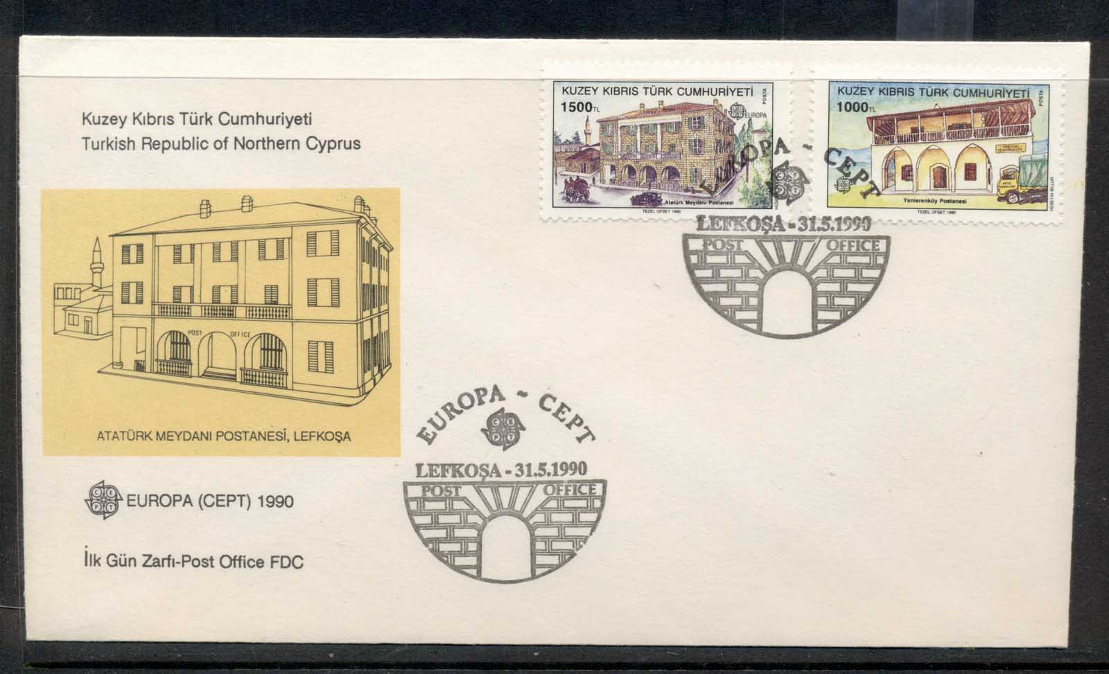 Cyprus Turkish 1990 Europa Post Offices FDC