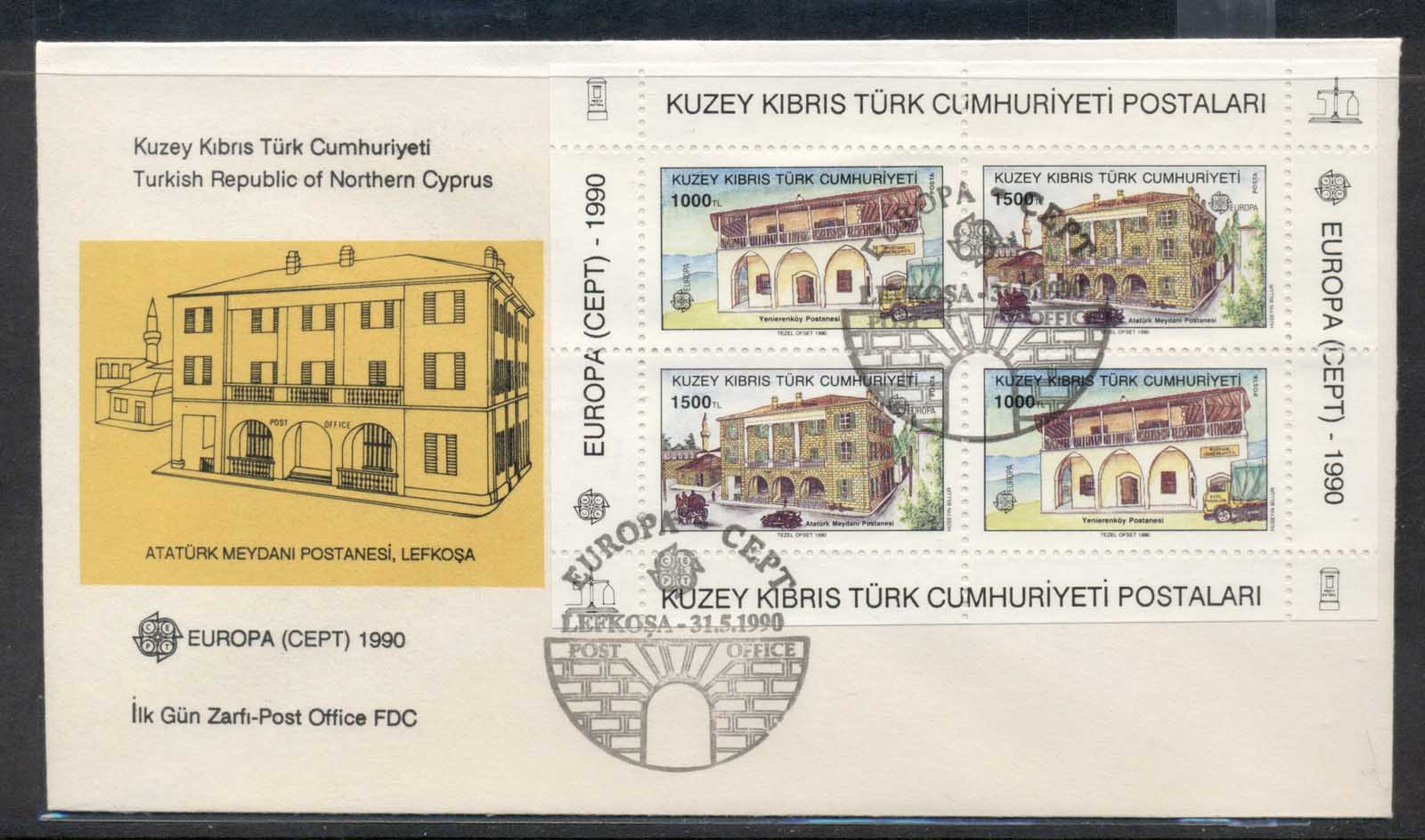 Cyprus Turkish 1990 Europa Post Offices MS FDC