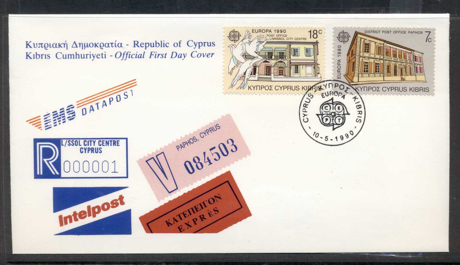 Cyprus 1990 Europa Post Offices FDC