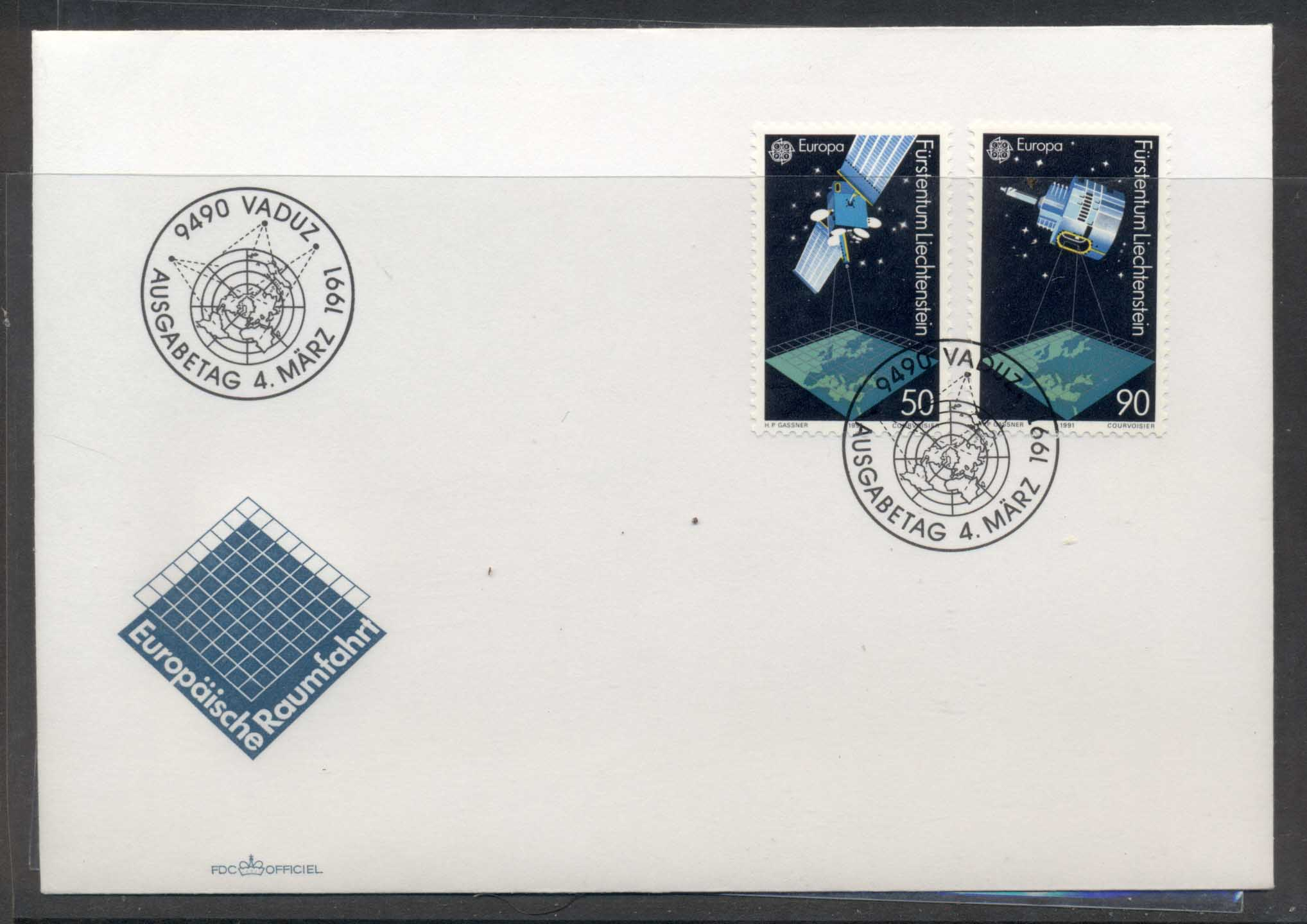 Liechtenstein 1991 Europa Man in Space FDC