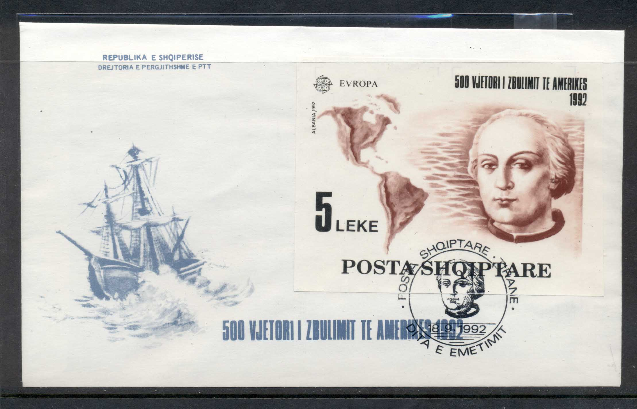 Albania 1992 Europa Columbus Discovery of America MS FDC
