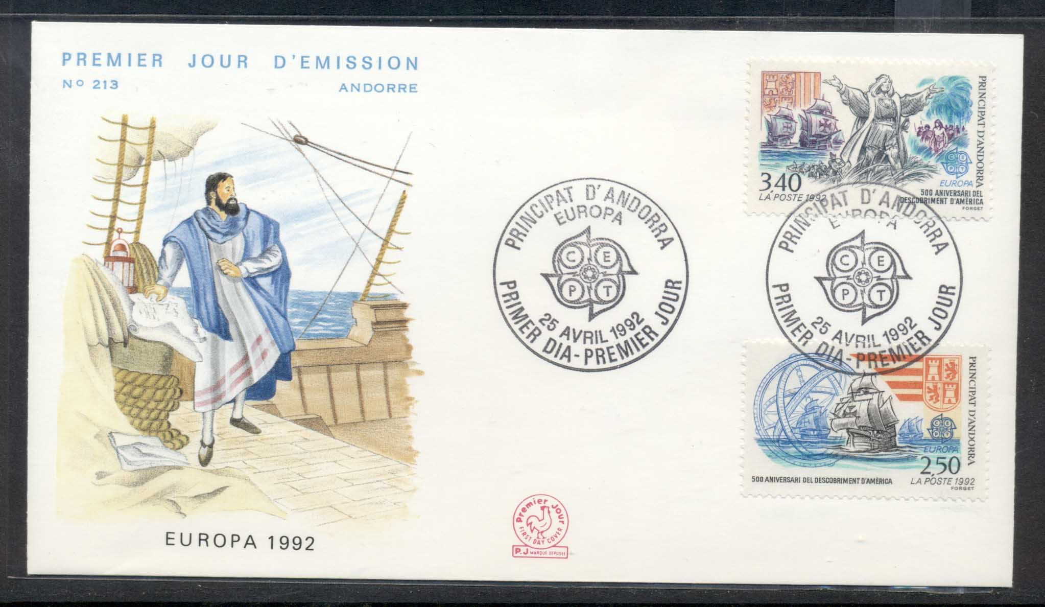 Andorra (Fr.) 1992 Europa Columbus Discovery of America FDC