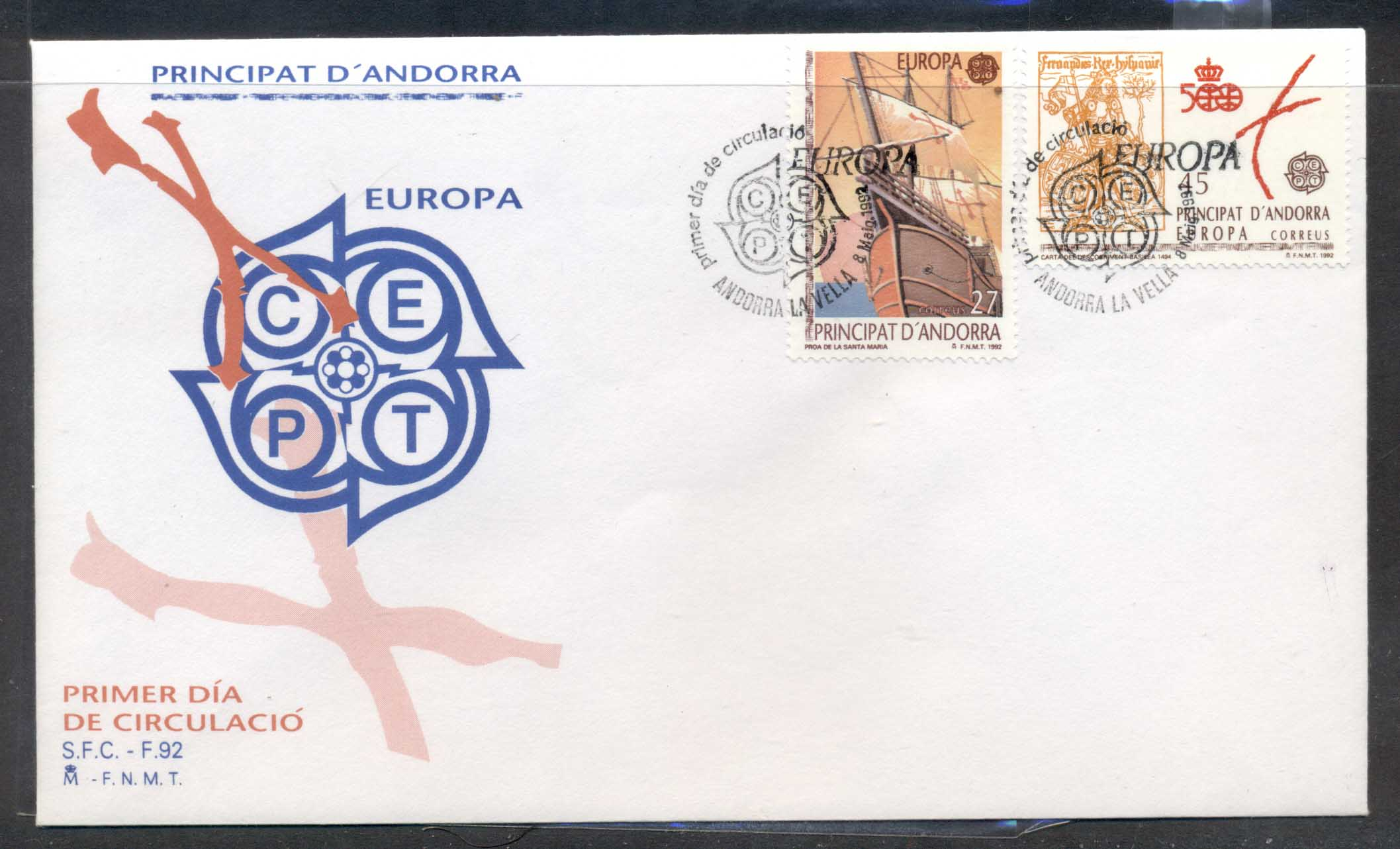Andorra (Sp.) 1992 Europa Columbus Discovery of America FDC