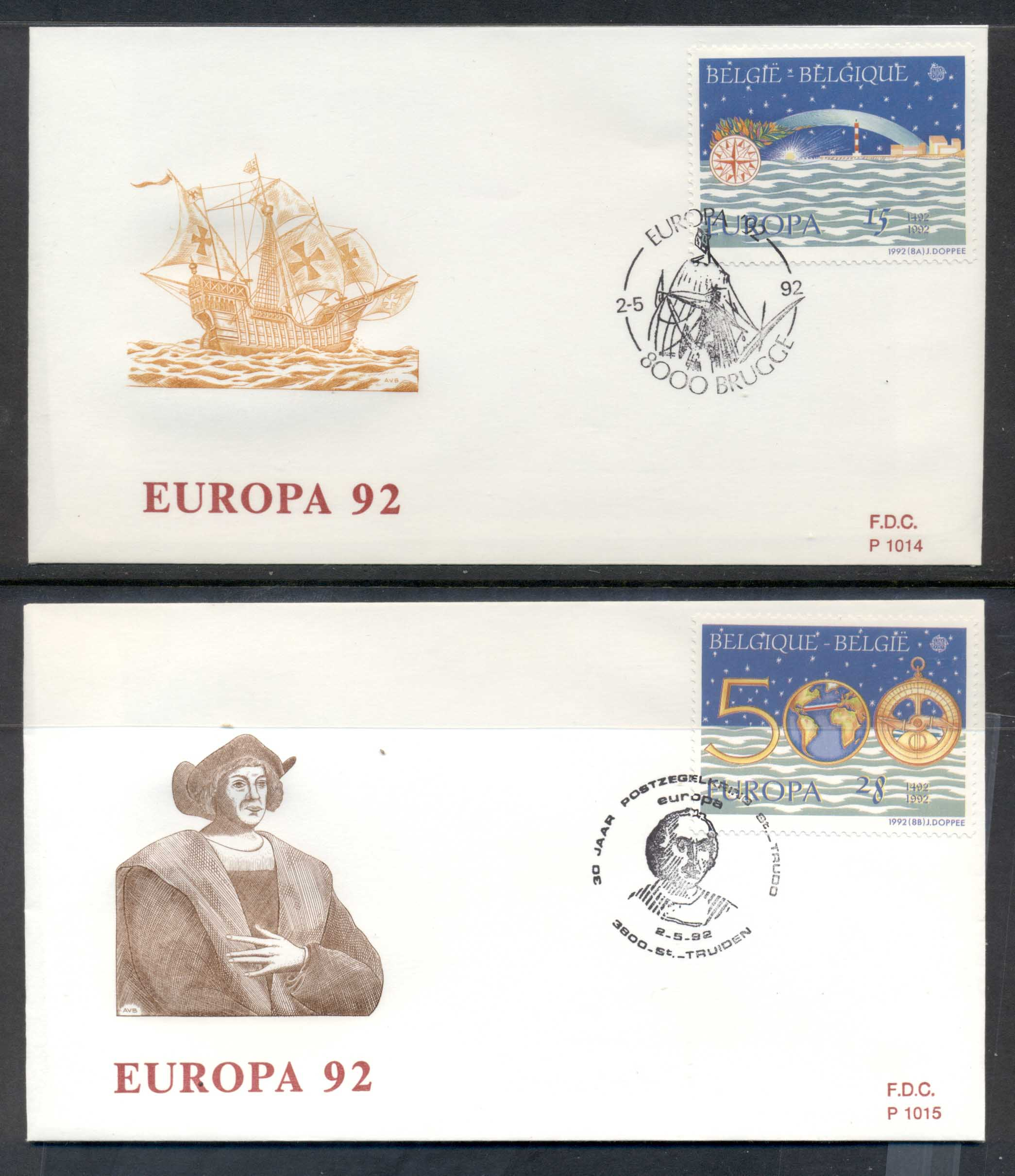 Belgium 1992 Europa Columbus Discovery of America 2x FDC