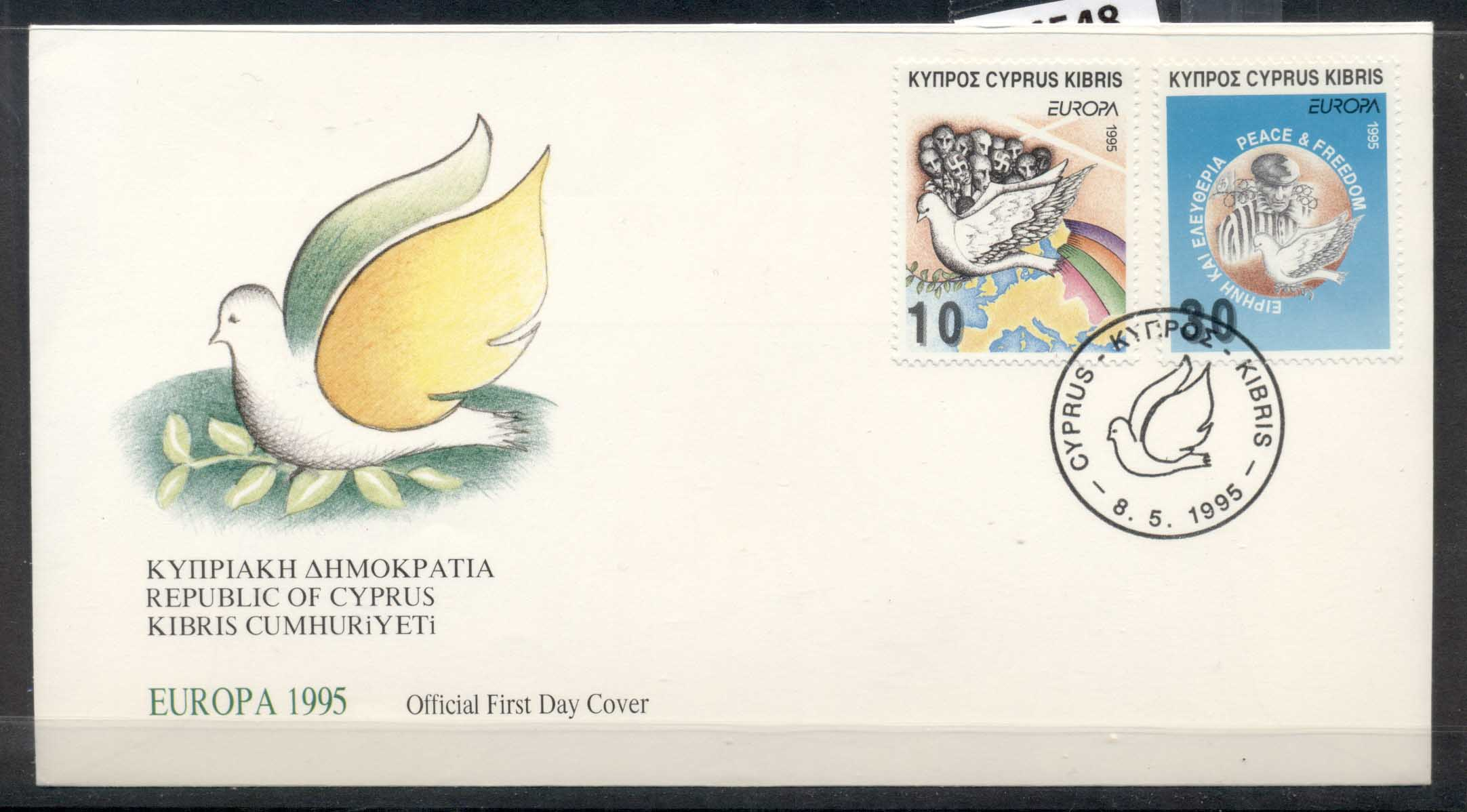 Cyprus 1995 Europa Peace & Freedom FDC