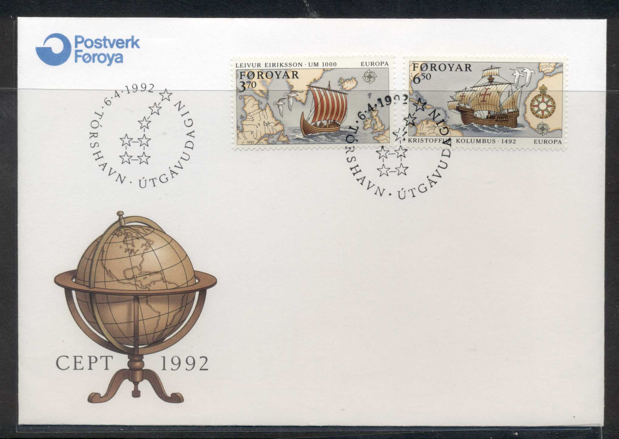 Faroe Is 1992 Europa Columbus Discovery of America FDC