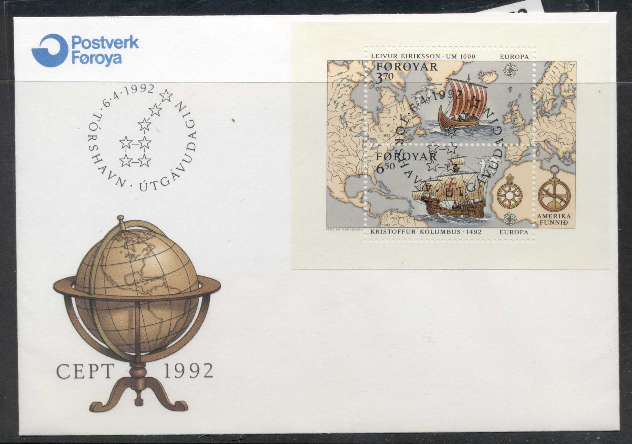 Faroe Is 1992 Europa Columbus Discovery of America MS FDC