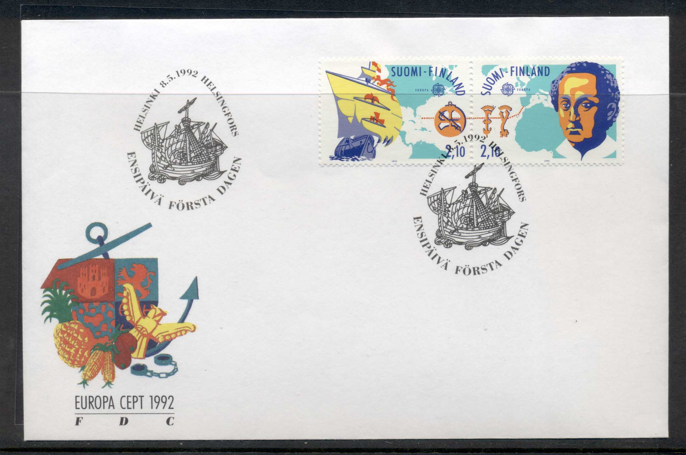 Finland 1992 Europa Columbus Discovery of America FDC