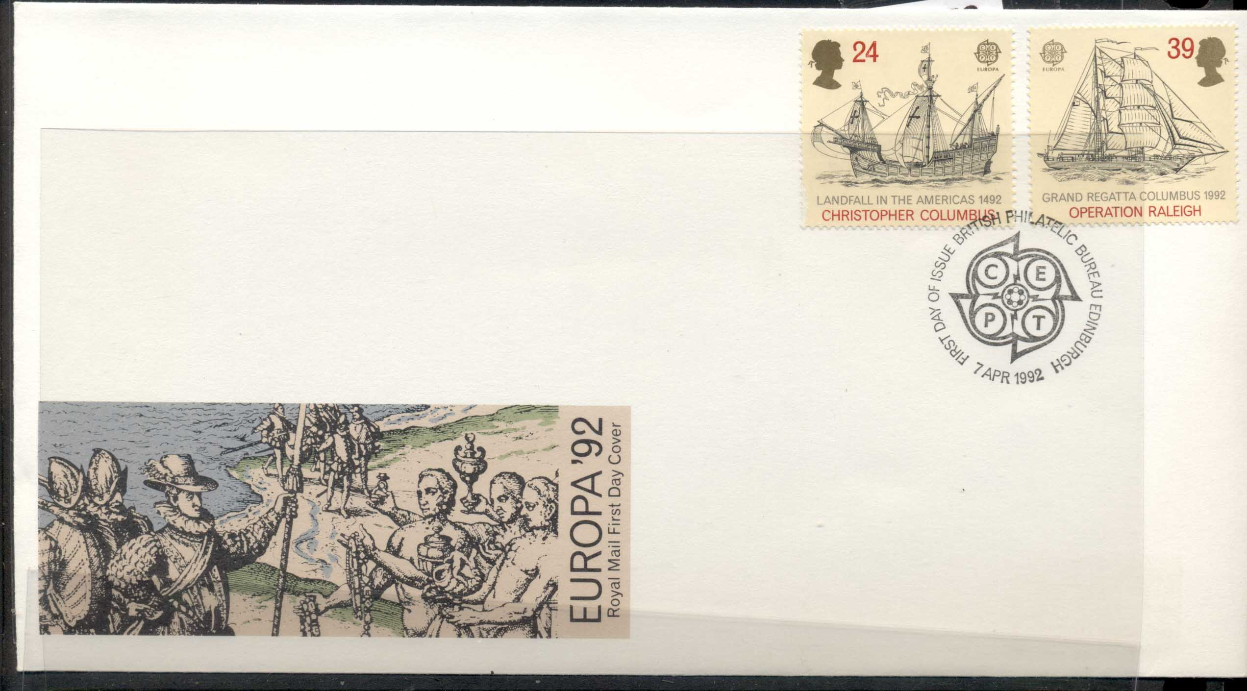 GB 1992 Europa Columbus Discovery of America FDC
