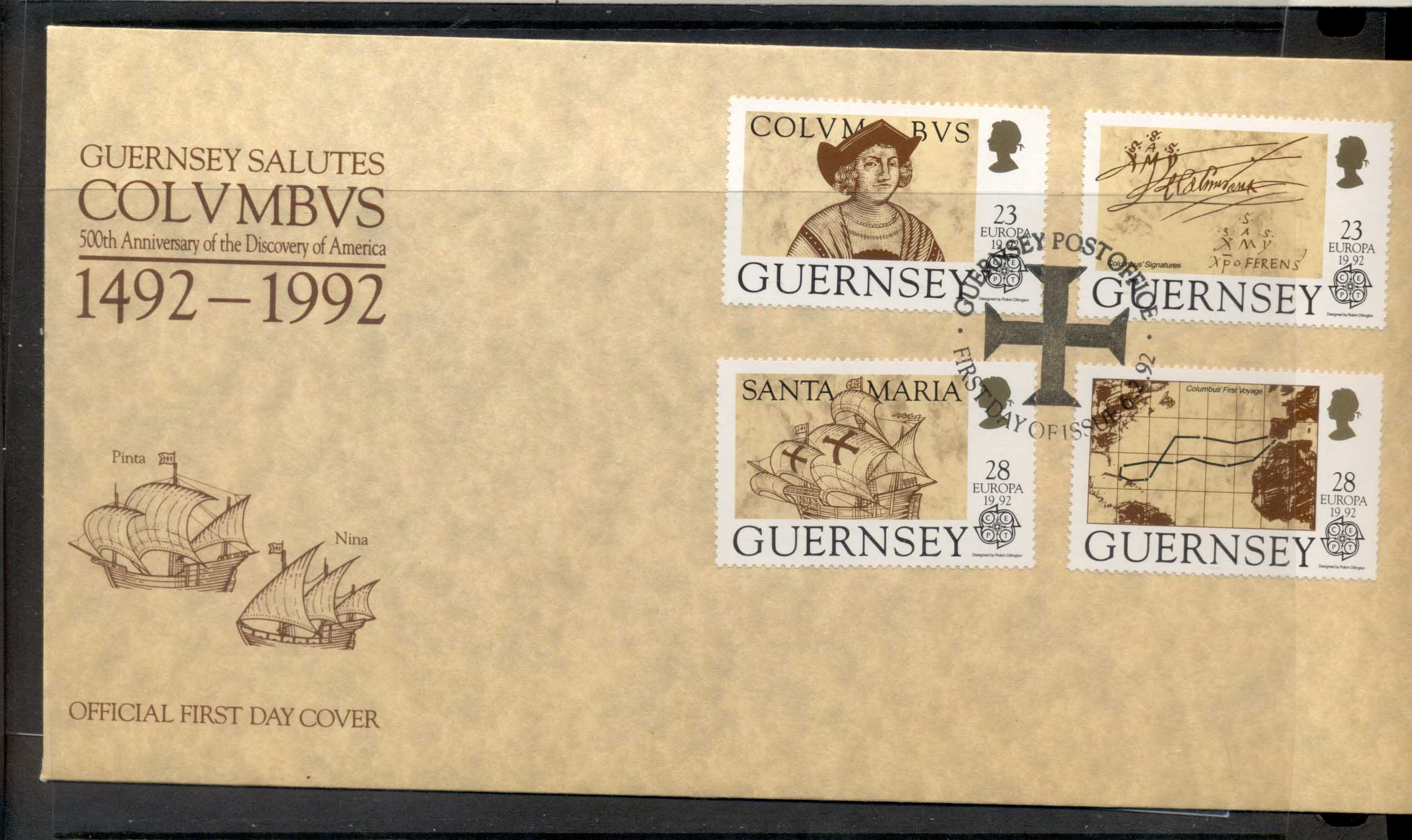 Guernsey 1992 Europa Columbus Discovery of America FDC
