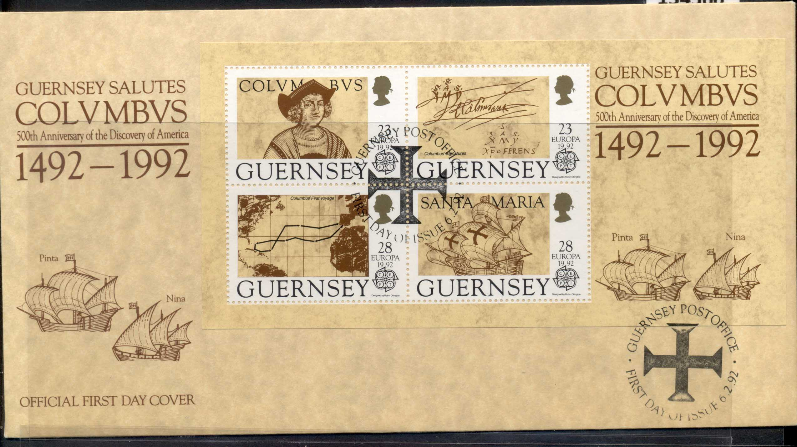 Guernsey 1992 Europa Columbus Discovery of America MS FDC
