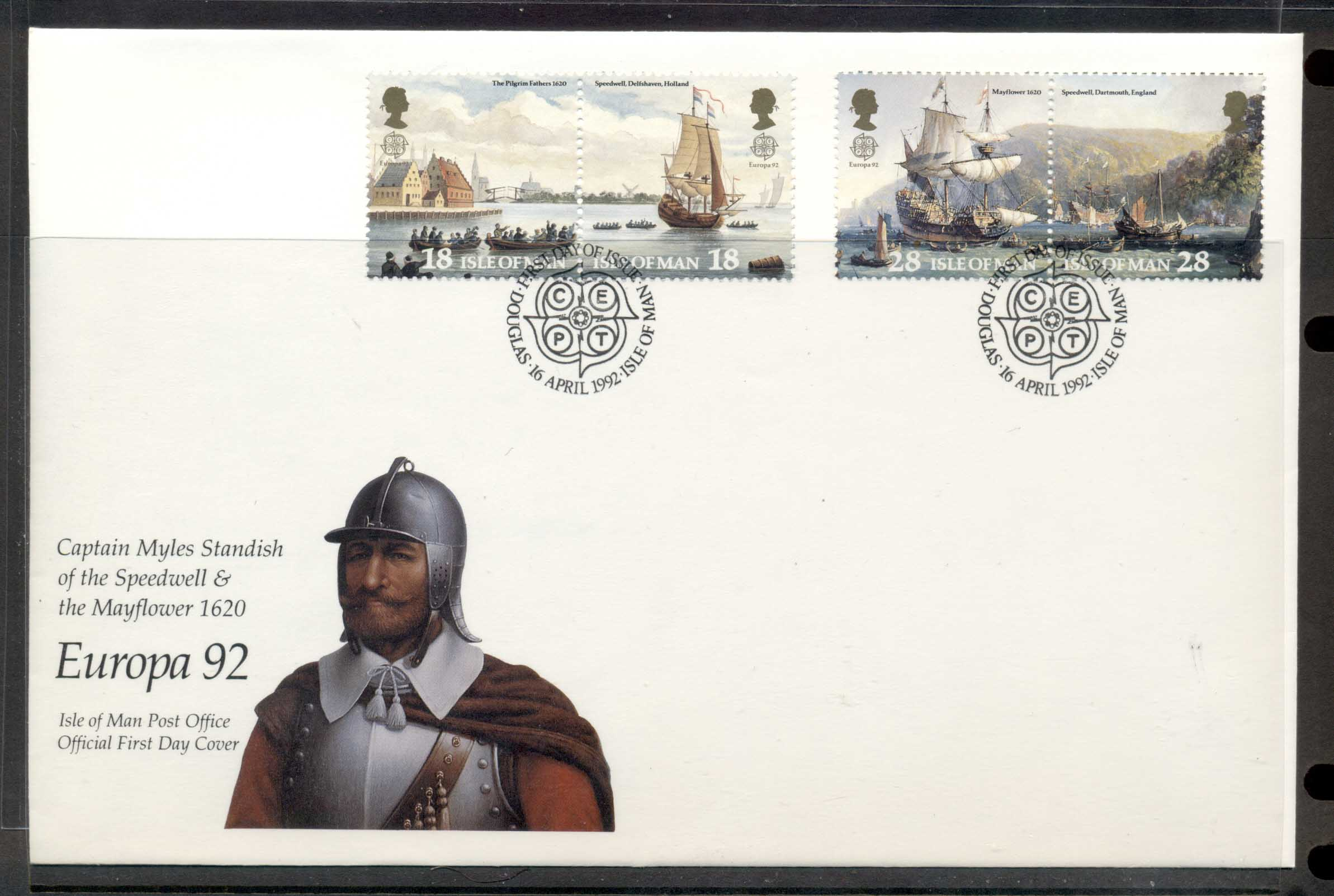 Isle of Man 1992 Europa Columbus Discovery of America FDC