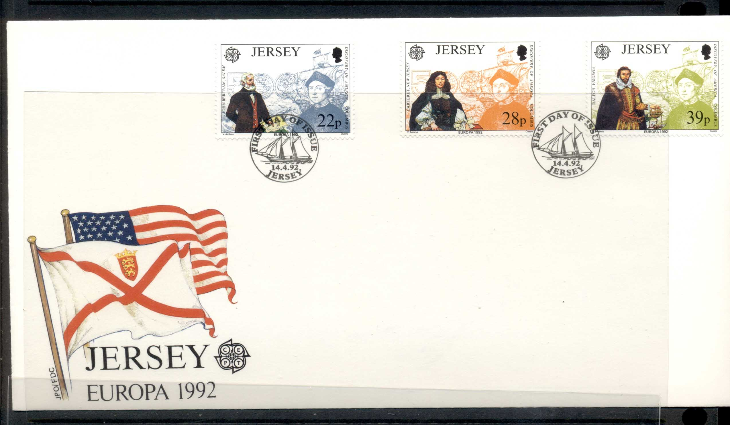 Jersey 1992 Europa Columbus Discovery of America FDC