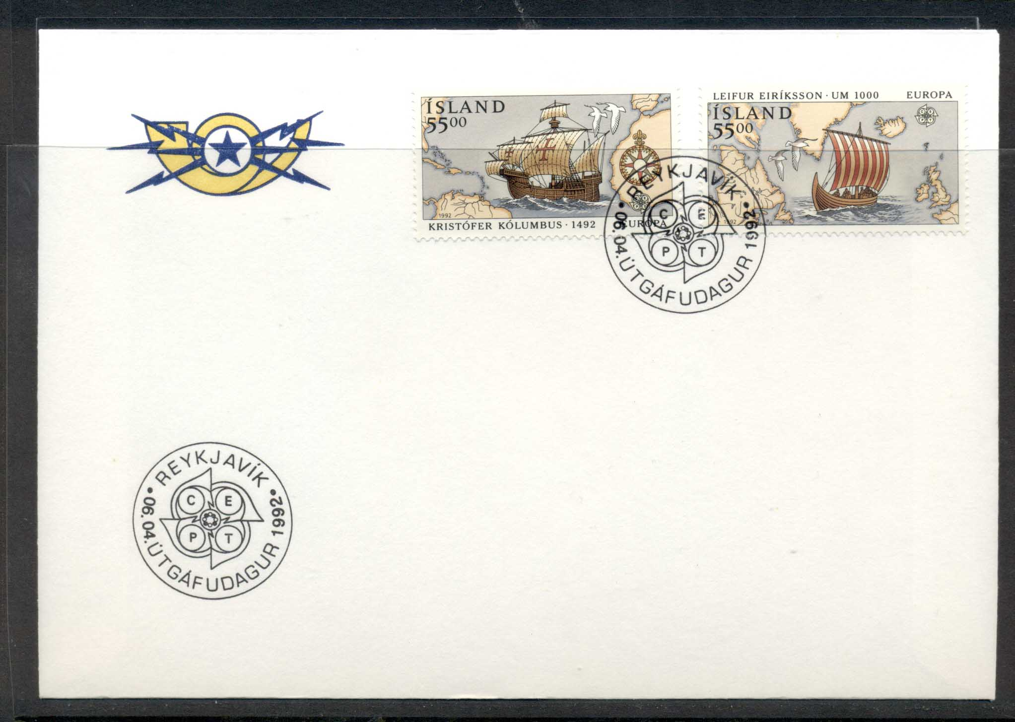 Iceland 1992 Europa Columbus Discovery of America FDC