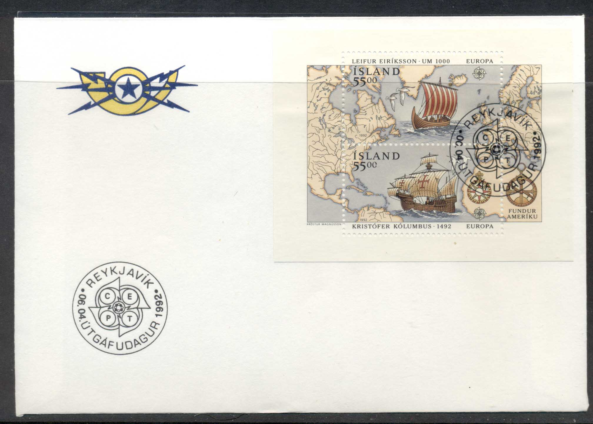 Iceland 1992 Europa Columbus Discovery of America MS FDC