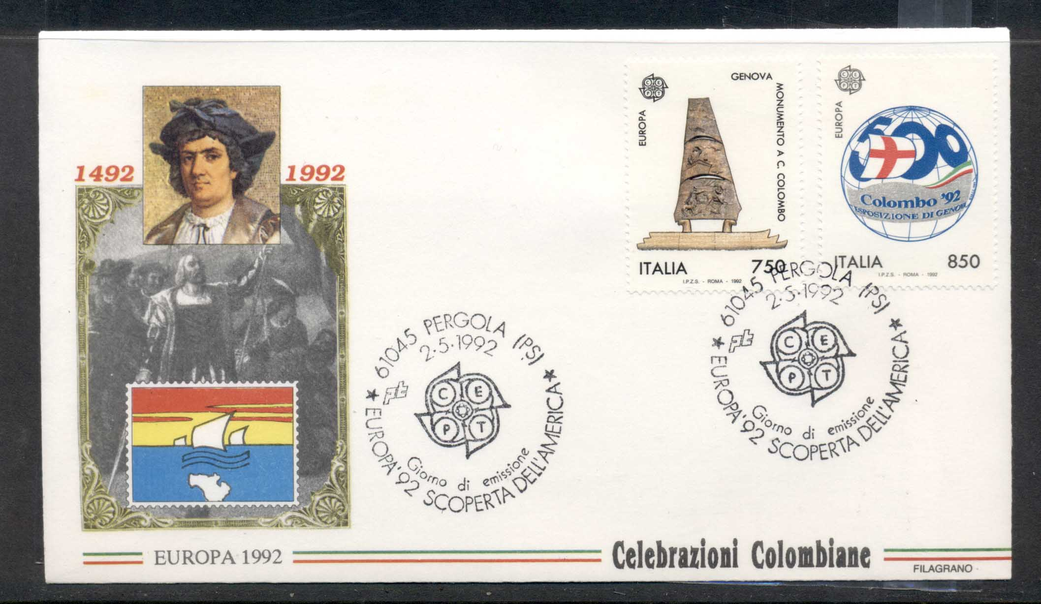 Italy 1992 Europa Columbus Discovery of America FDC