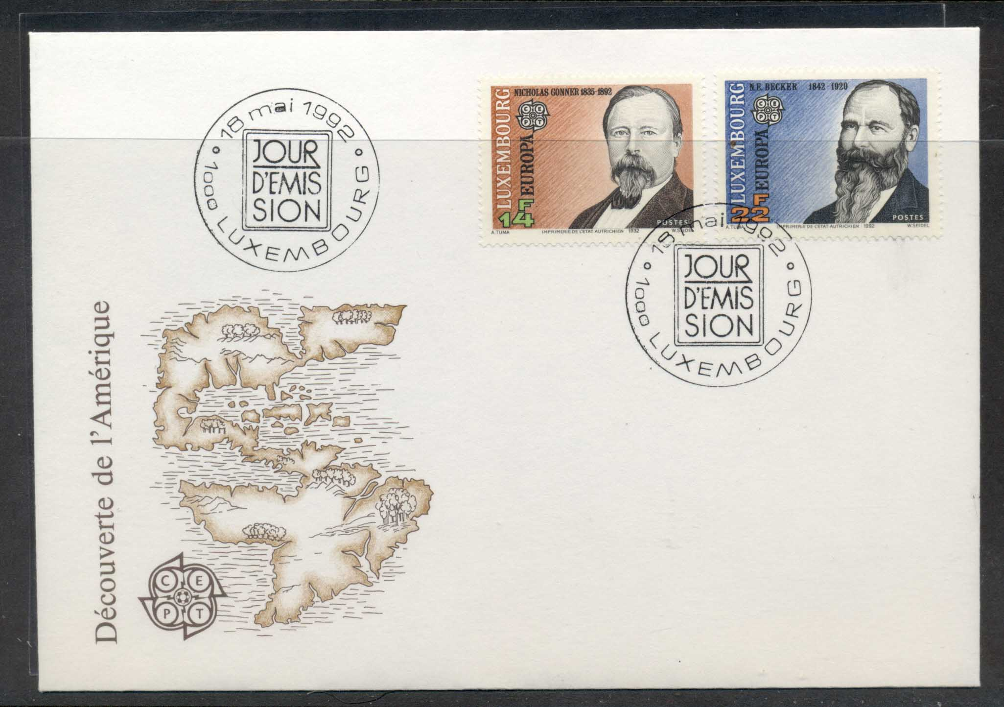Luxembourg 1992 Europa Columbus Discovery of America FDC