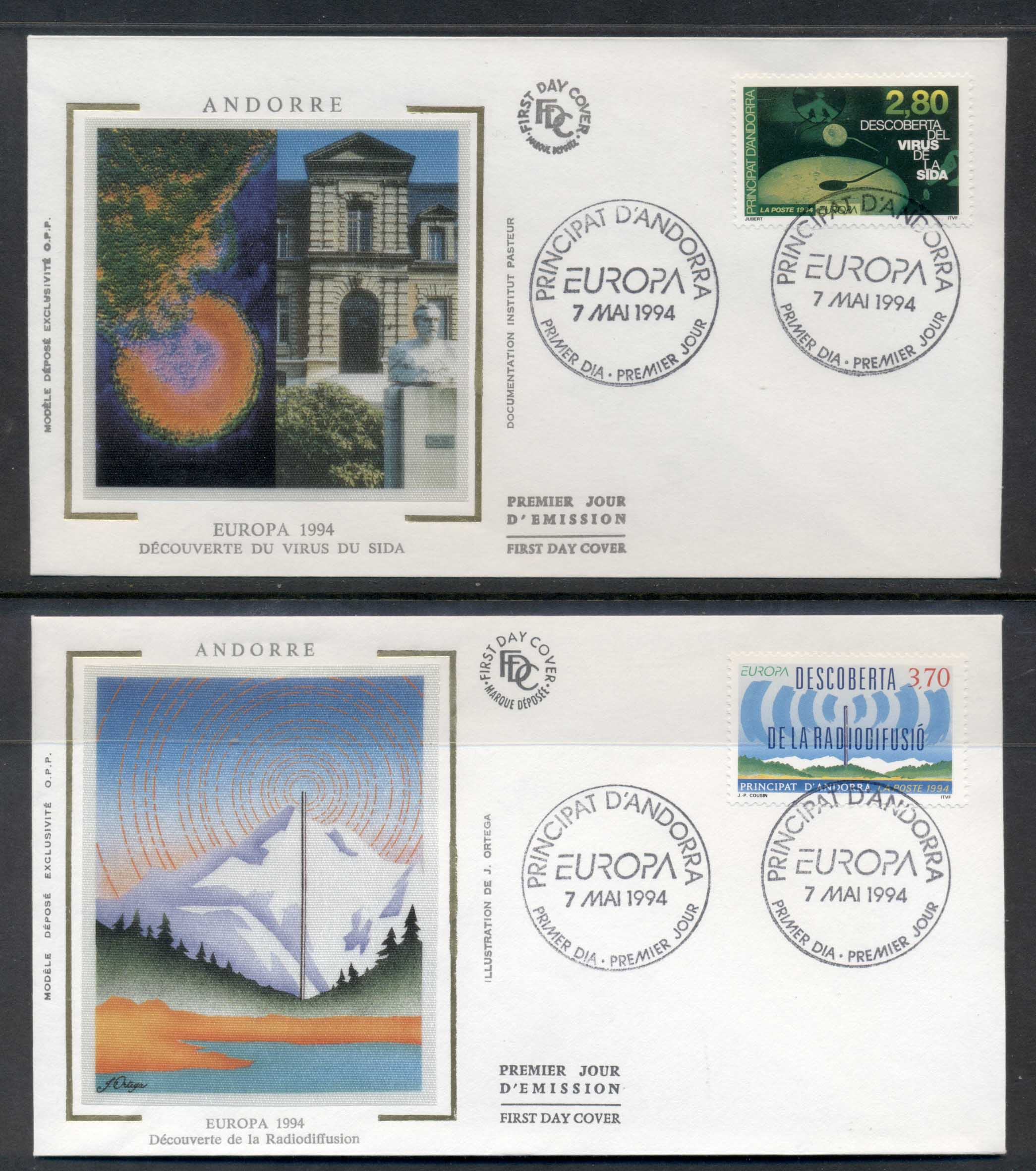 Andorra (Fr.) 1994 Europa Scientific Discoveries 2x FDC