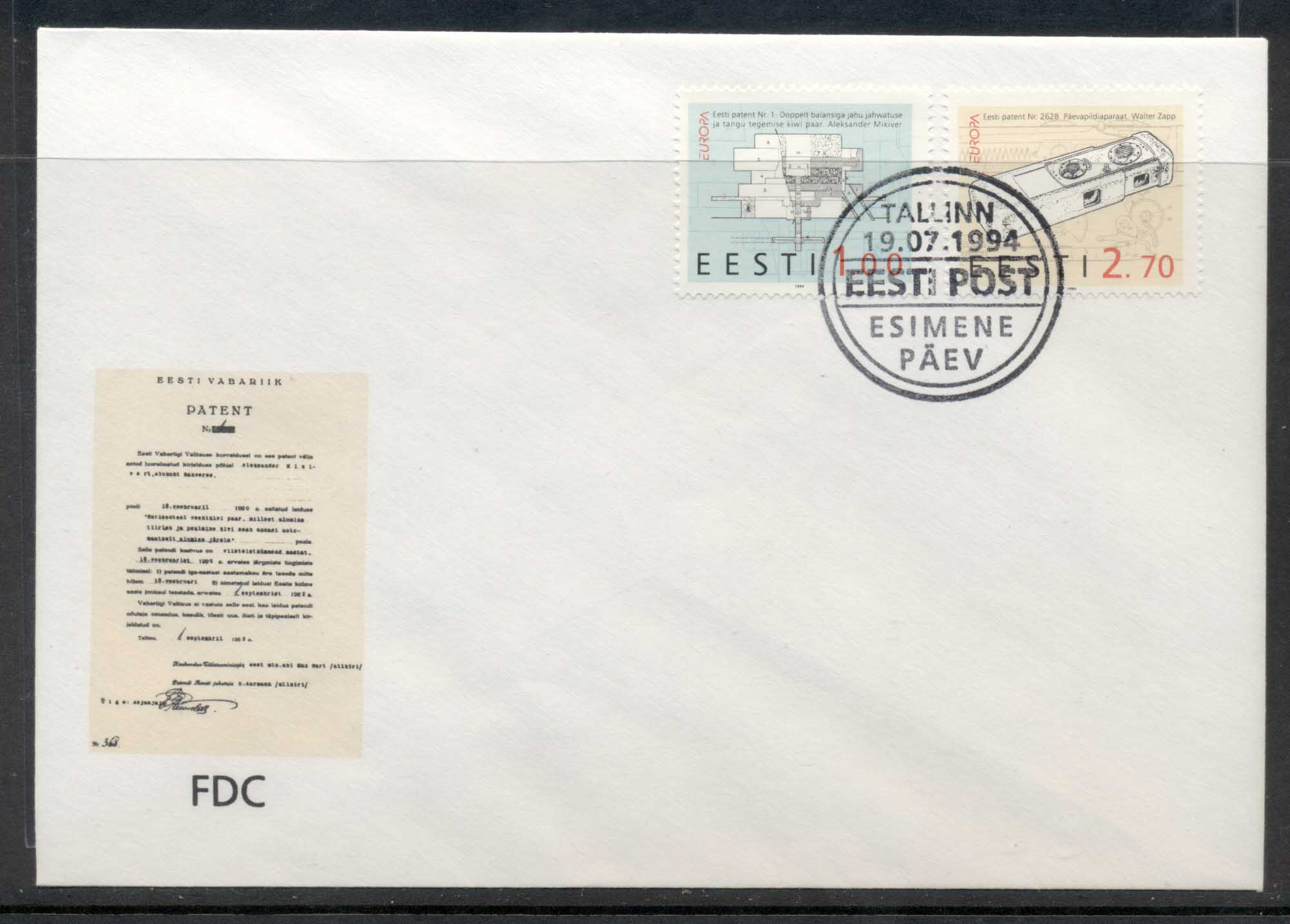 Estonia 1994 Europa Scientific Discoveries FDC