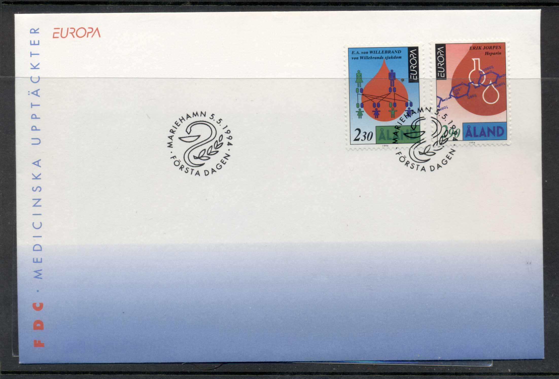 Aland 1994 Europa Scientific Discoveries FDC