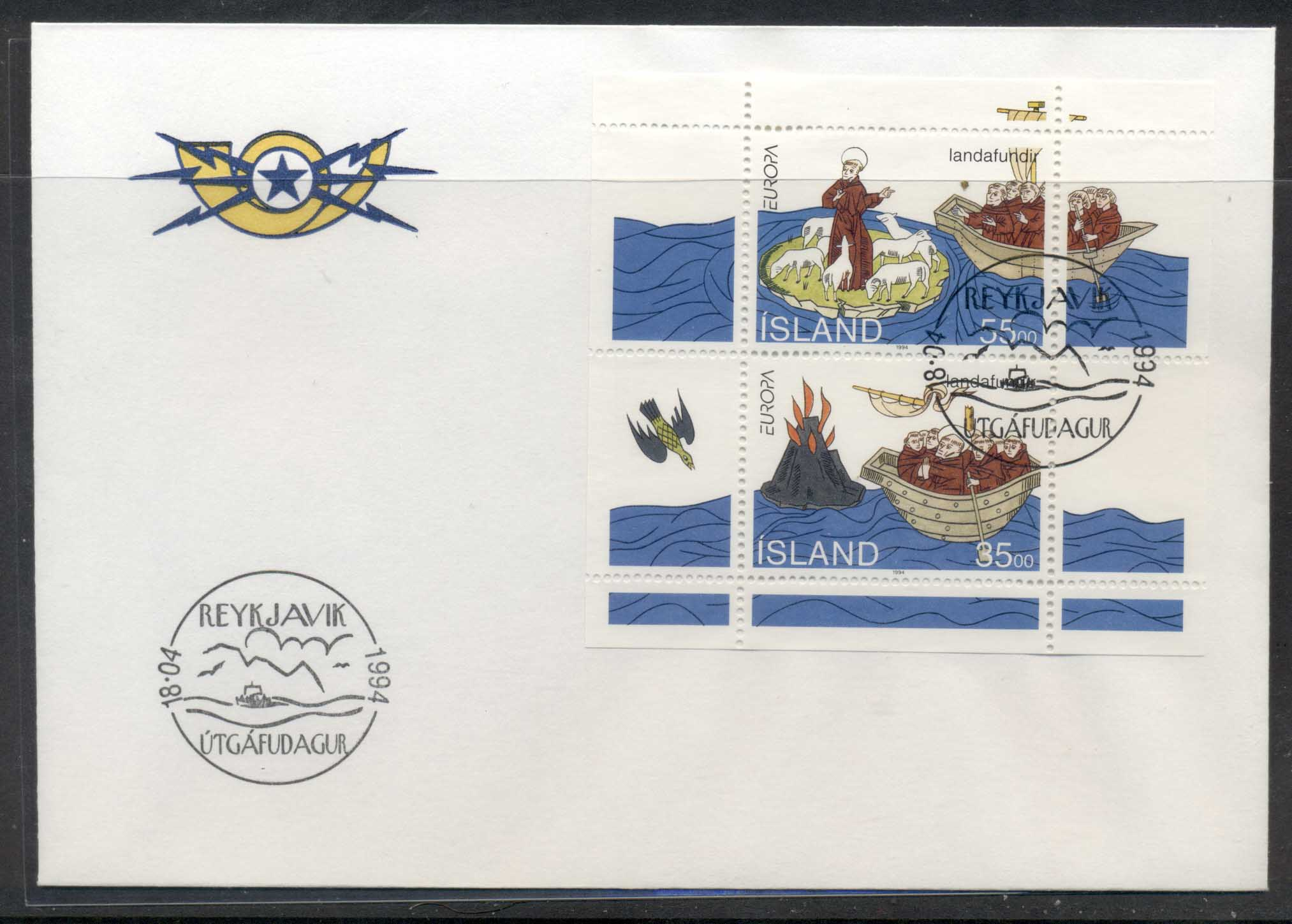 Iceland 1994 Europa Scientific Discoveries MS FDC