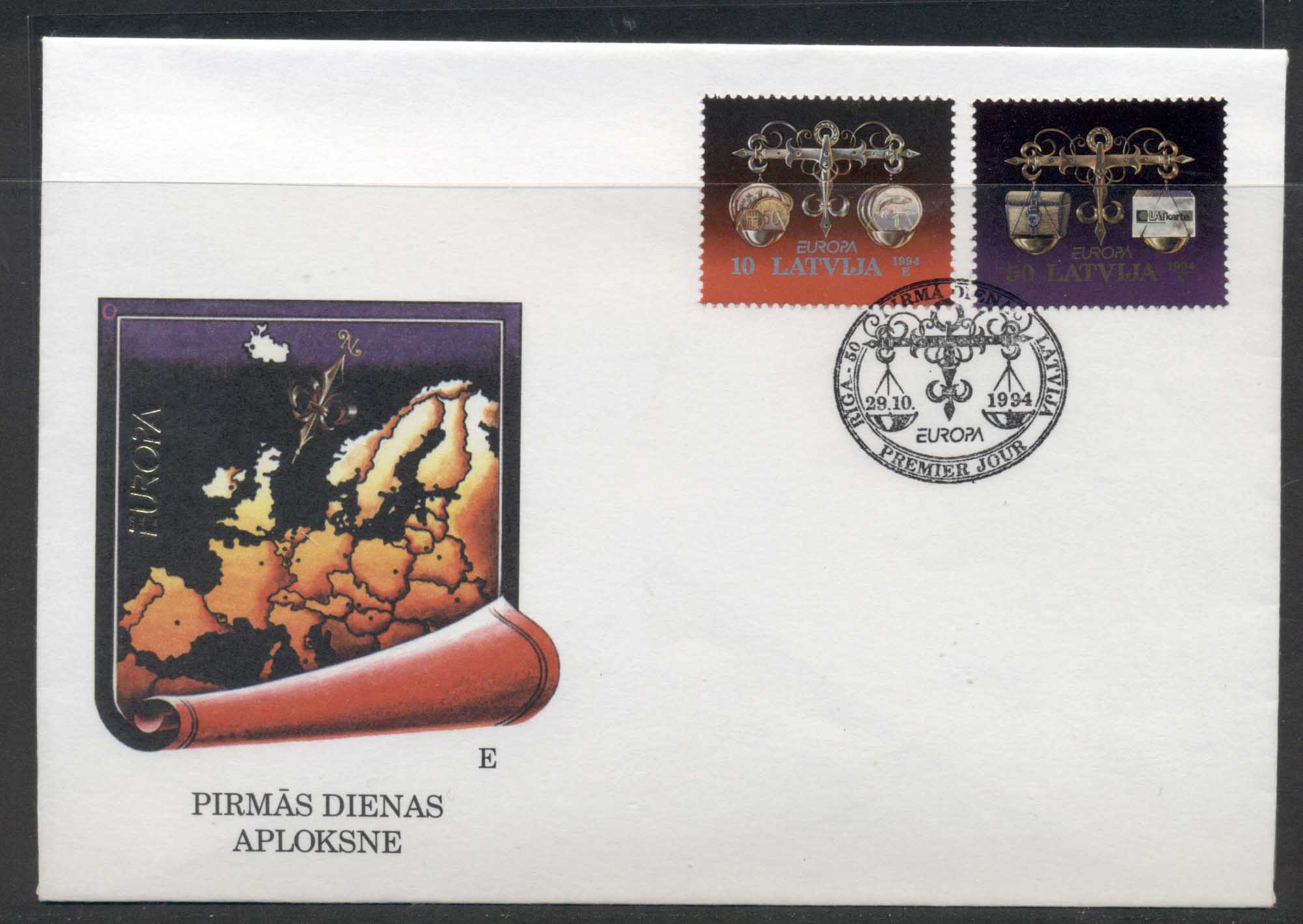 Latvia 1994 Europa Scientific Discoveries FDC