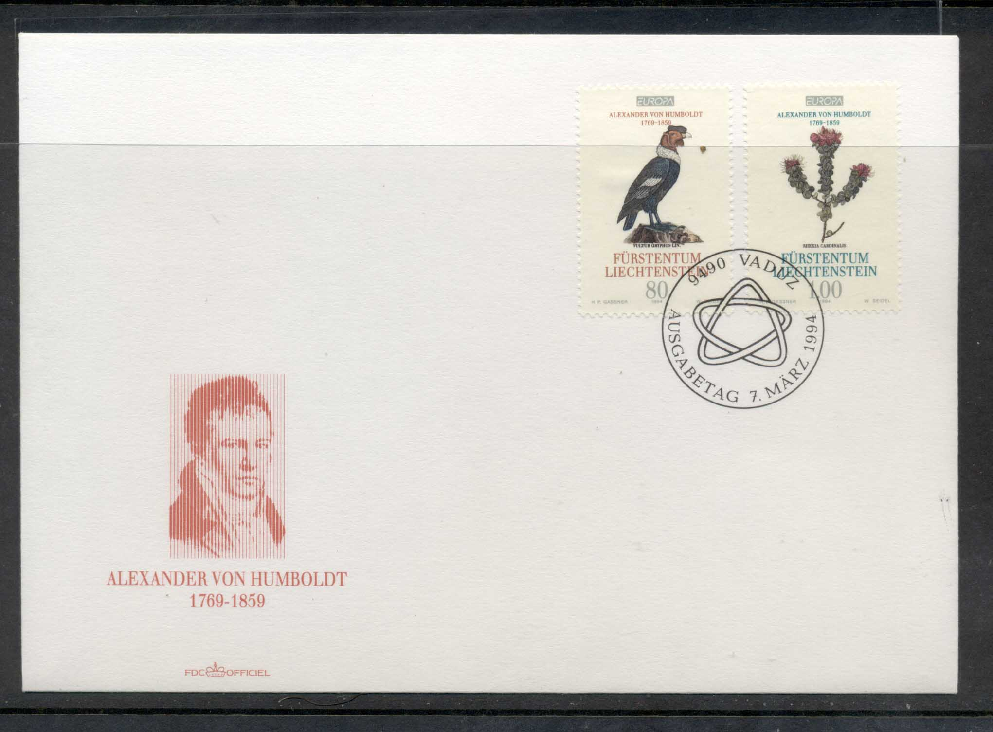 Liechtenstein 1994 Europa Scientific Discoveries FDC
