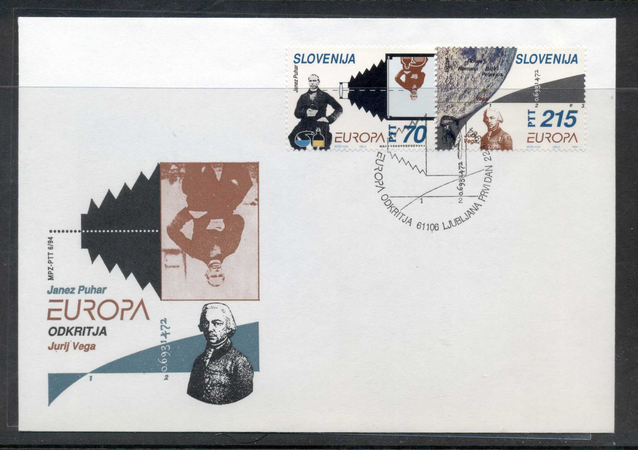 Slovenia 1994 Europa Scientific Discoveries FDC