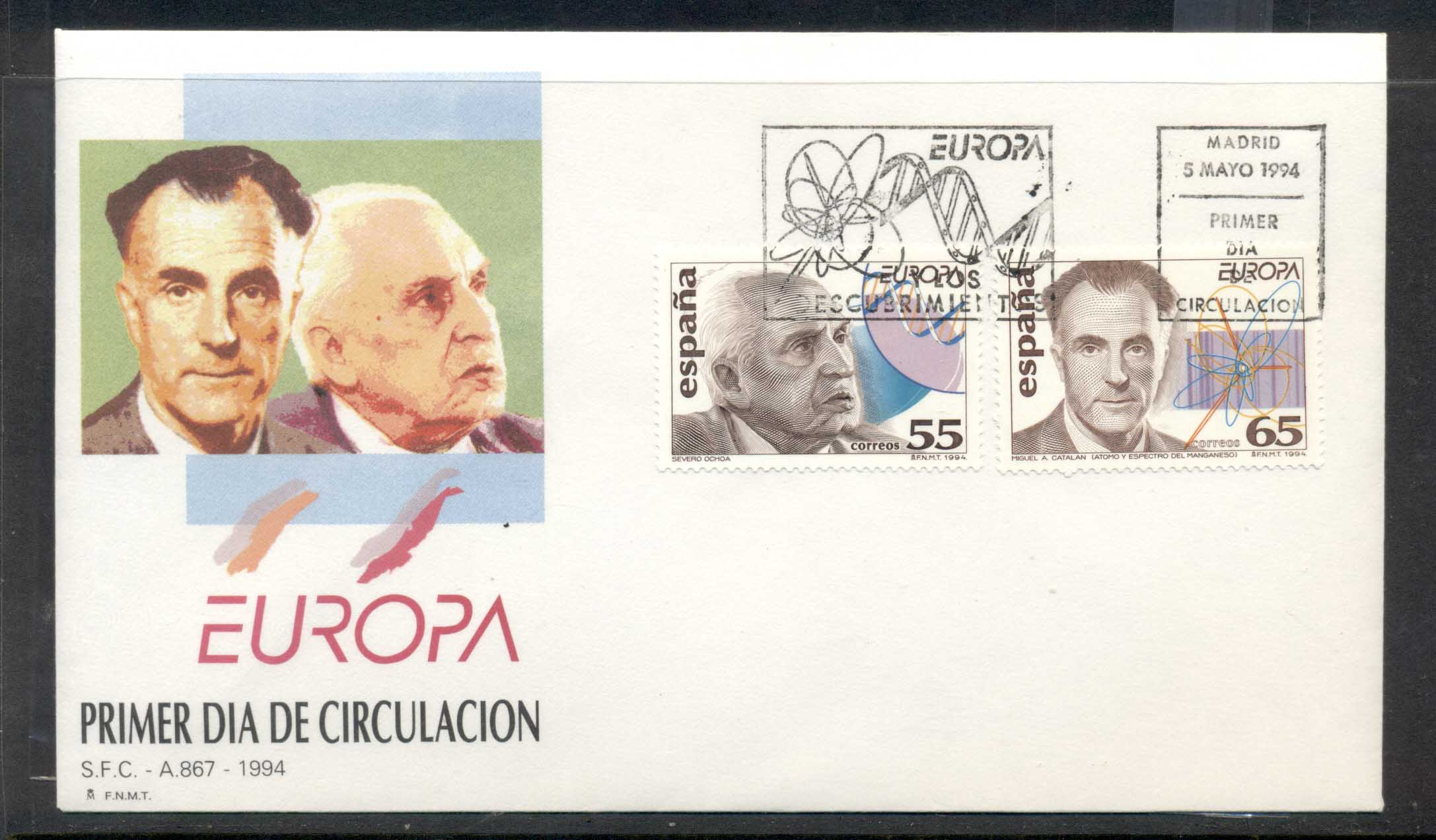 Spain 1994 Europa Scientific Discoveries FDC