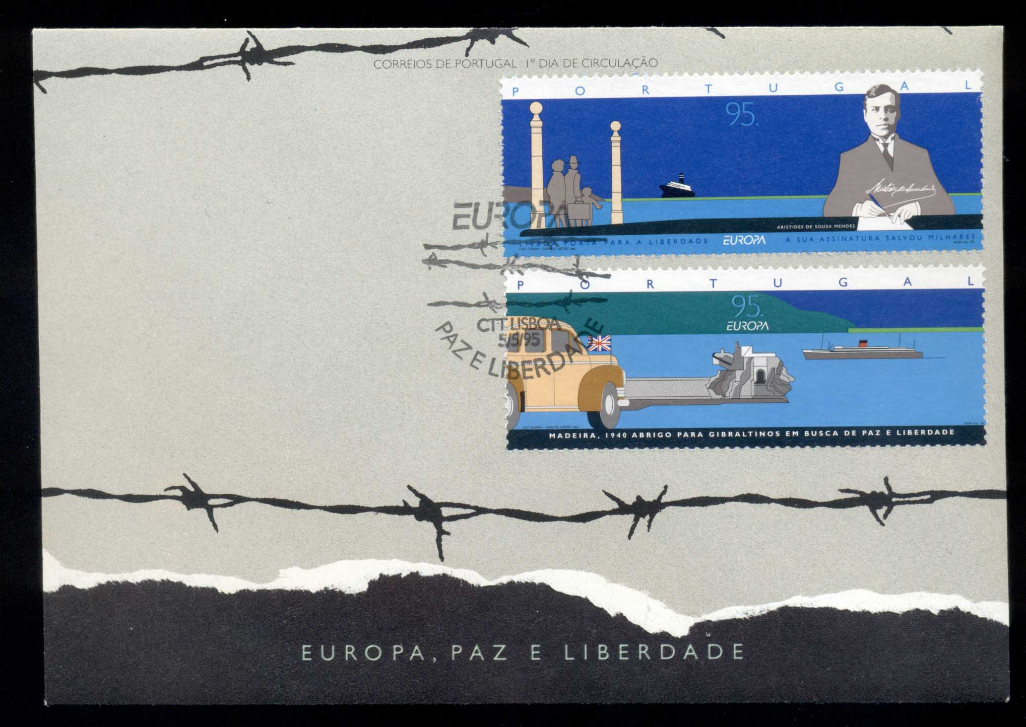 Portugal 1995 Europa Peace & Freedom FDC