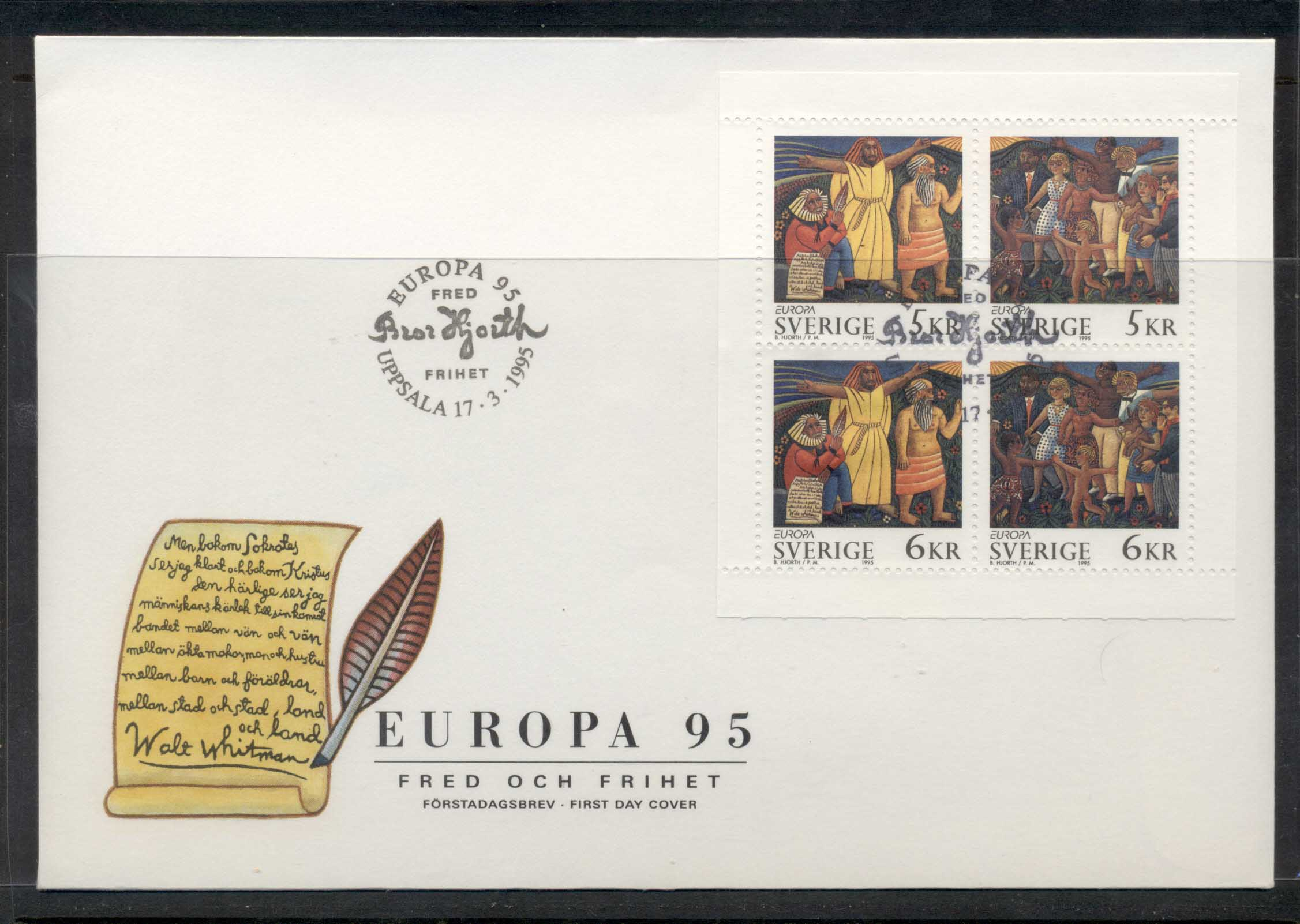 Sweden 1995 Europa Peace & Freedom MS FDC