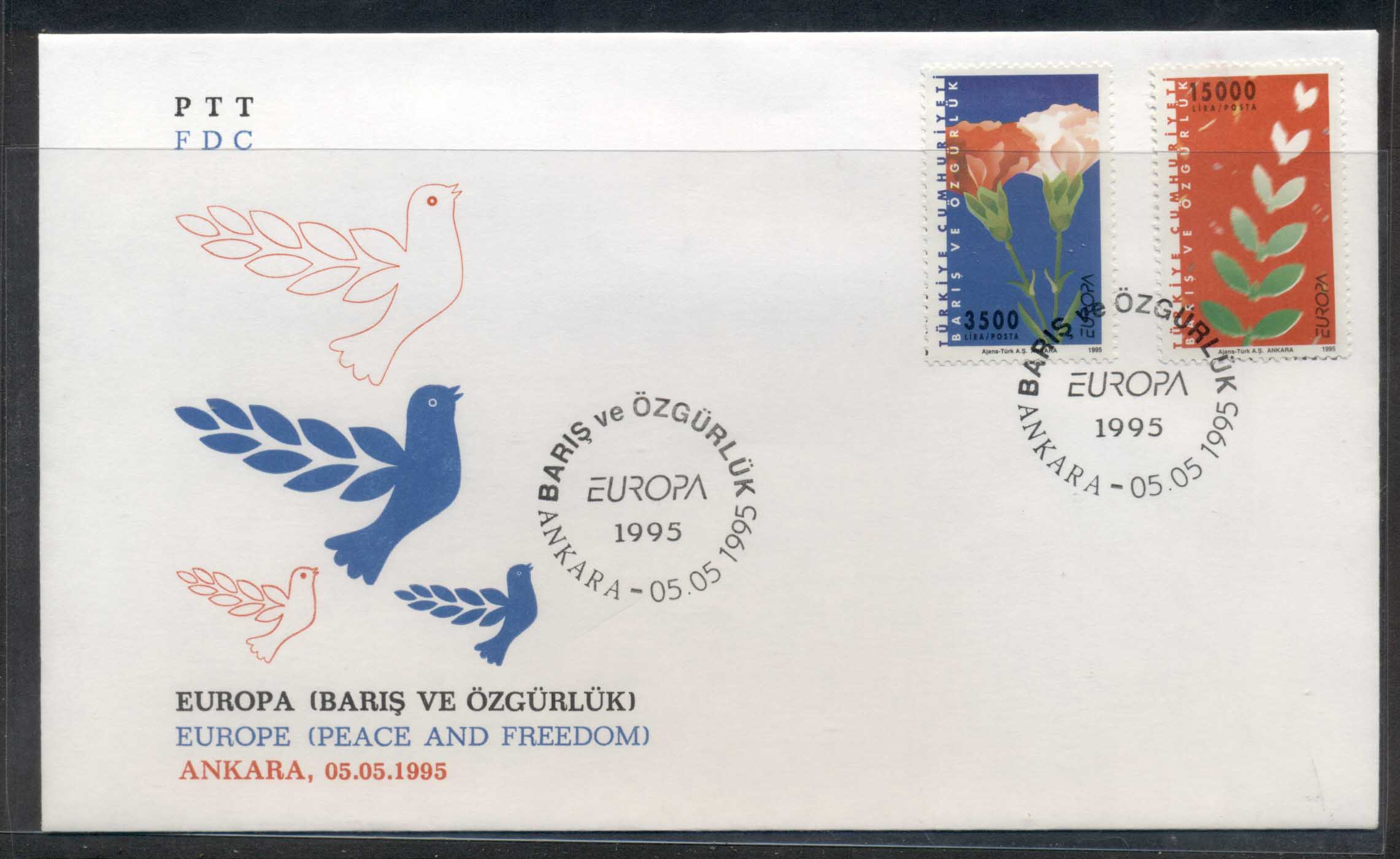 Turkey 1995 Europa Peace & Freedom FDC