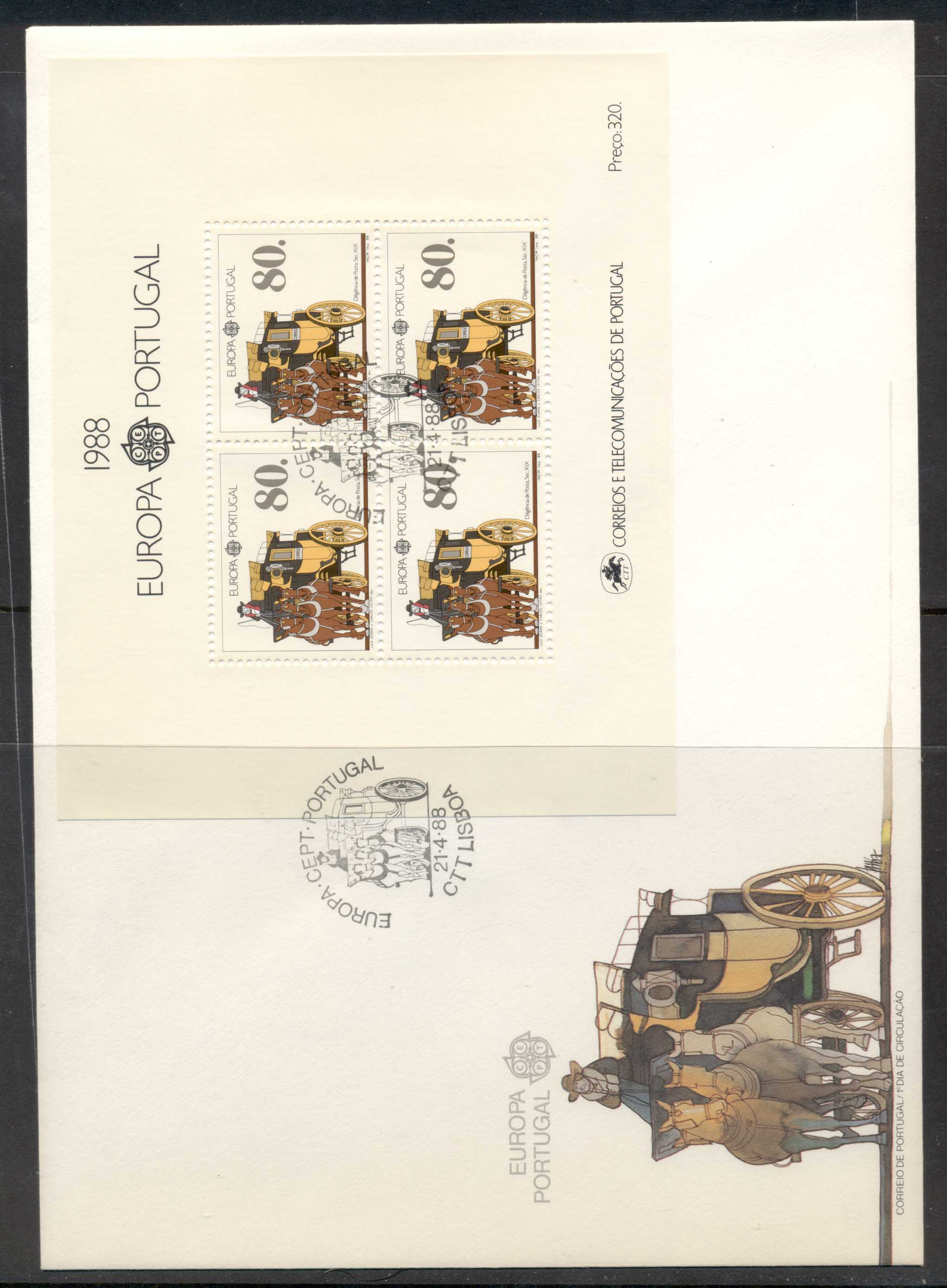 Portugal 1988 Europa Transport & Communication XLMS FDC
