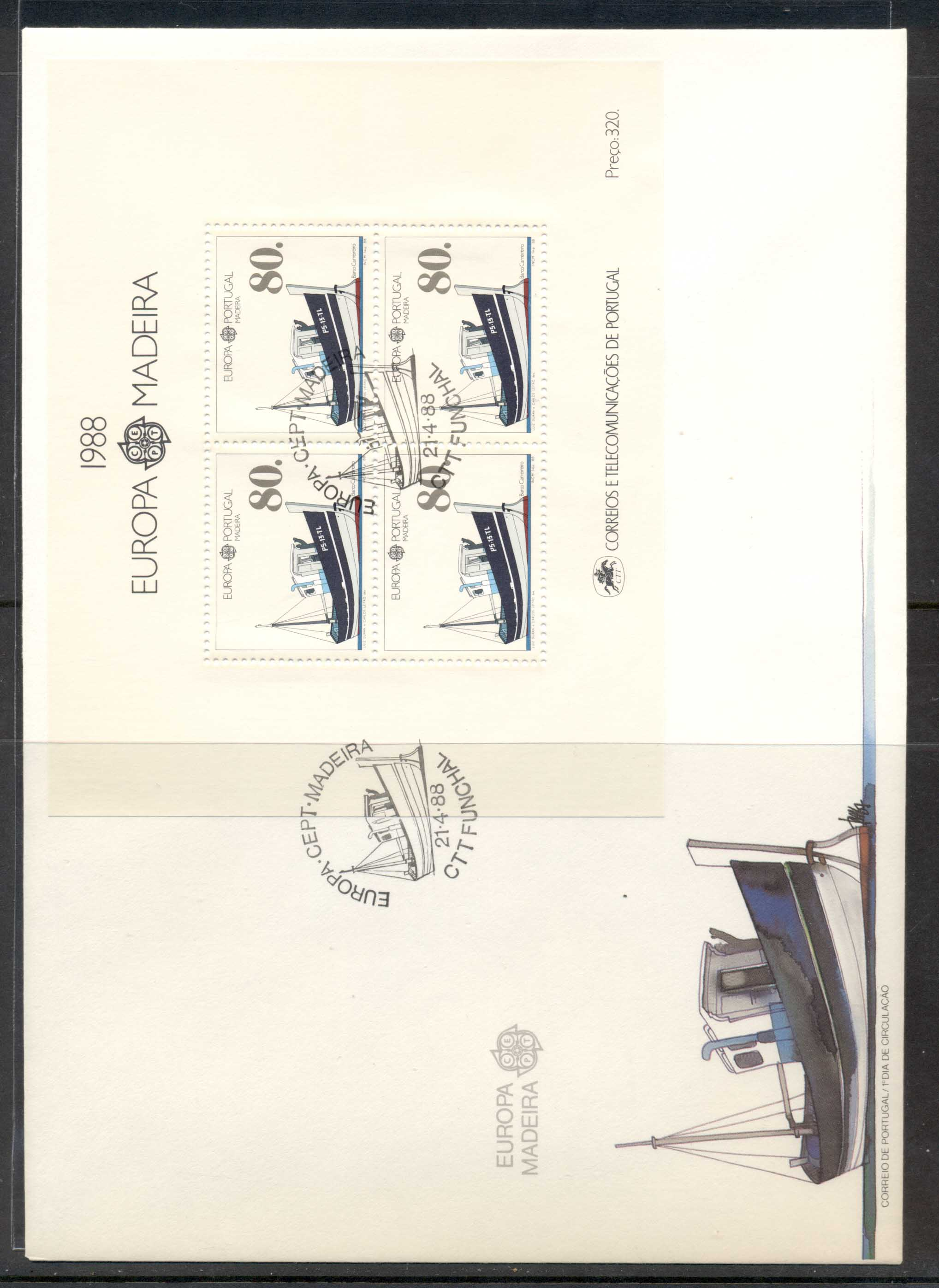 Madeira 1988 Europa Transport & Communication XLMS FDC