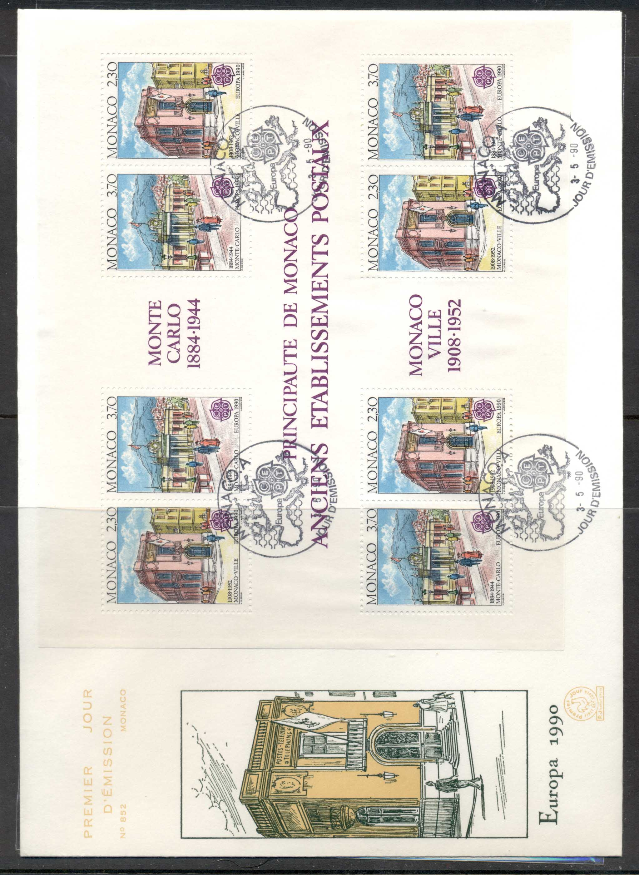 Monaco 1990 Europa Post Offices XLMS FDC