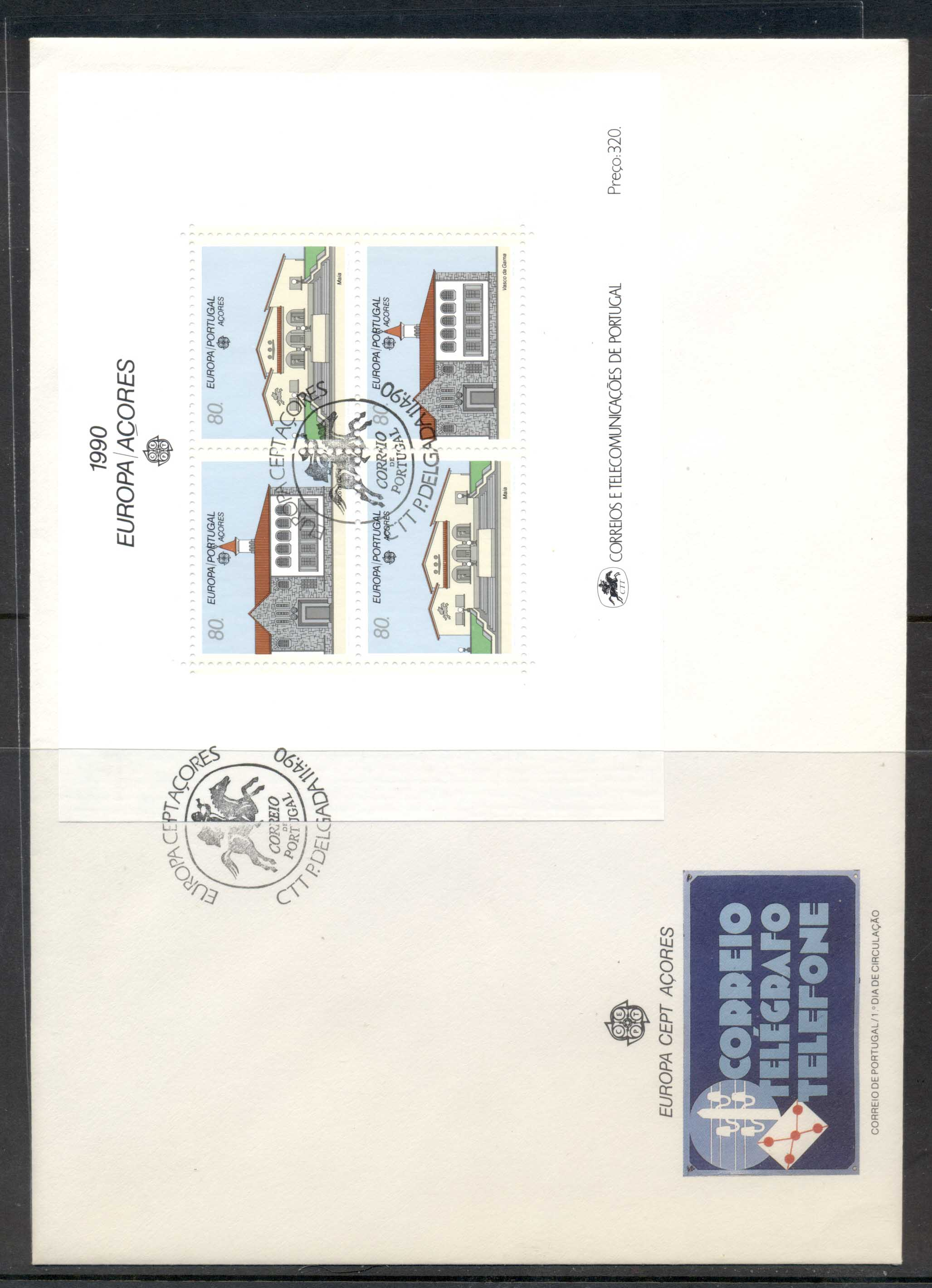 Azores 1990 Europa Post Offices XLMS FDC