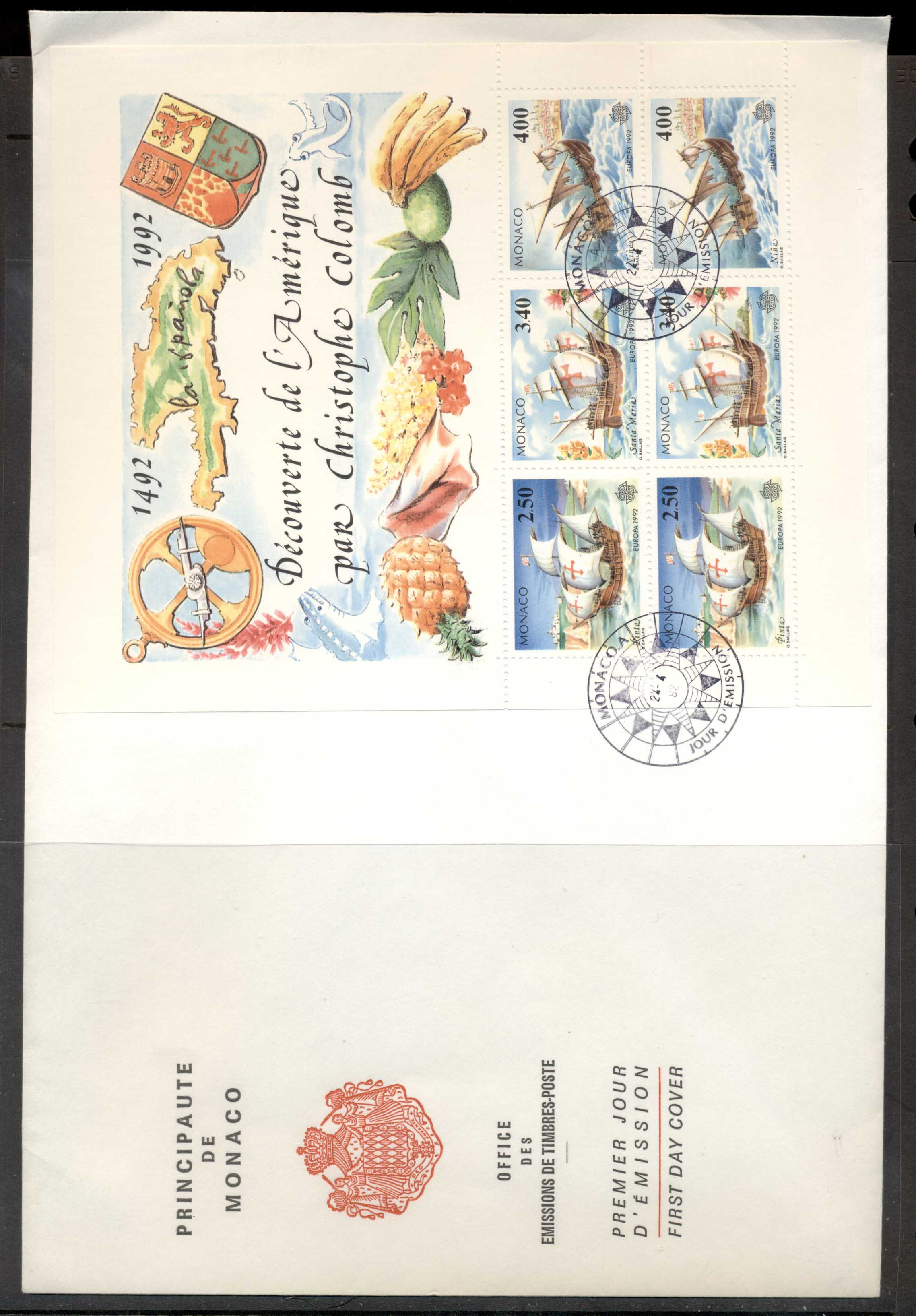 Monaco 1992 Europa Columbus Discovery of America XLMS FDC