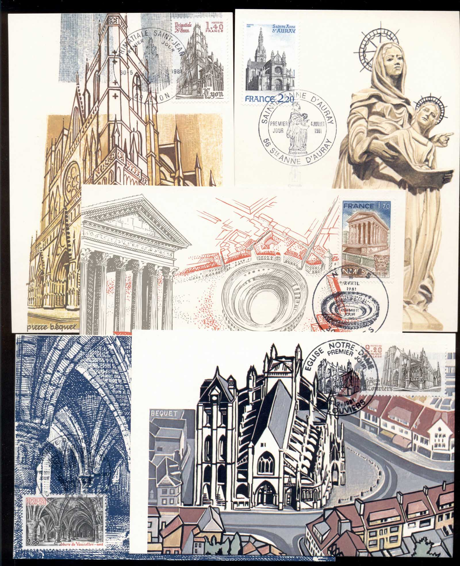France 1981 Tourism, Cathederals 5x maxicards