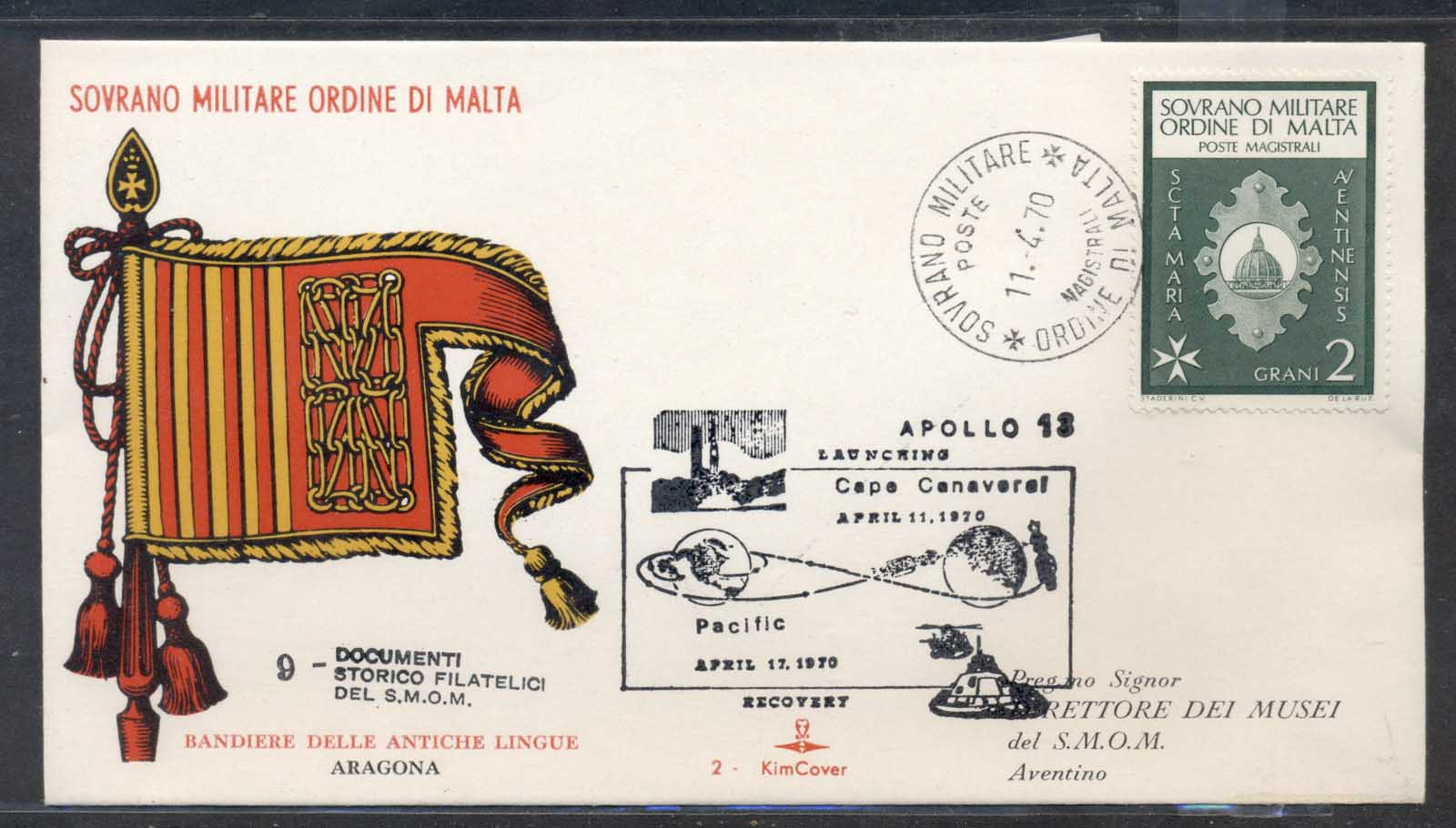 Malta 1970 Sovereign Military Order Apollo 13 Launching FDC