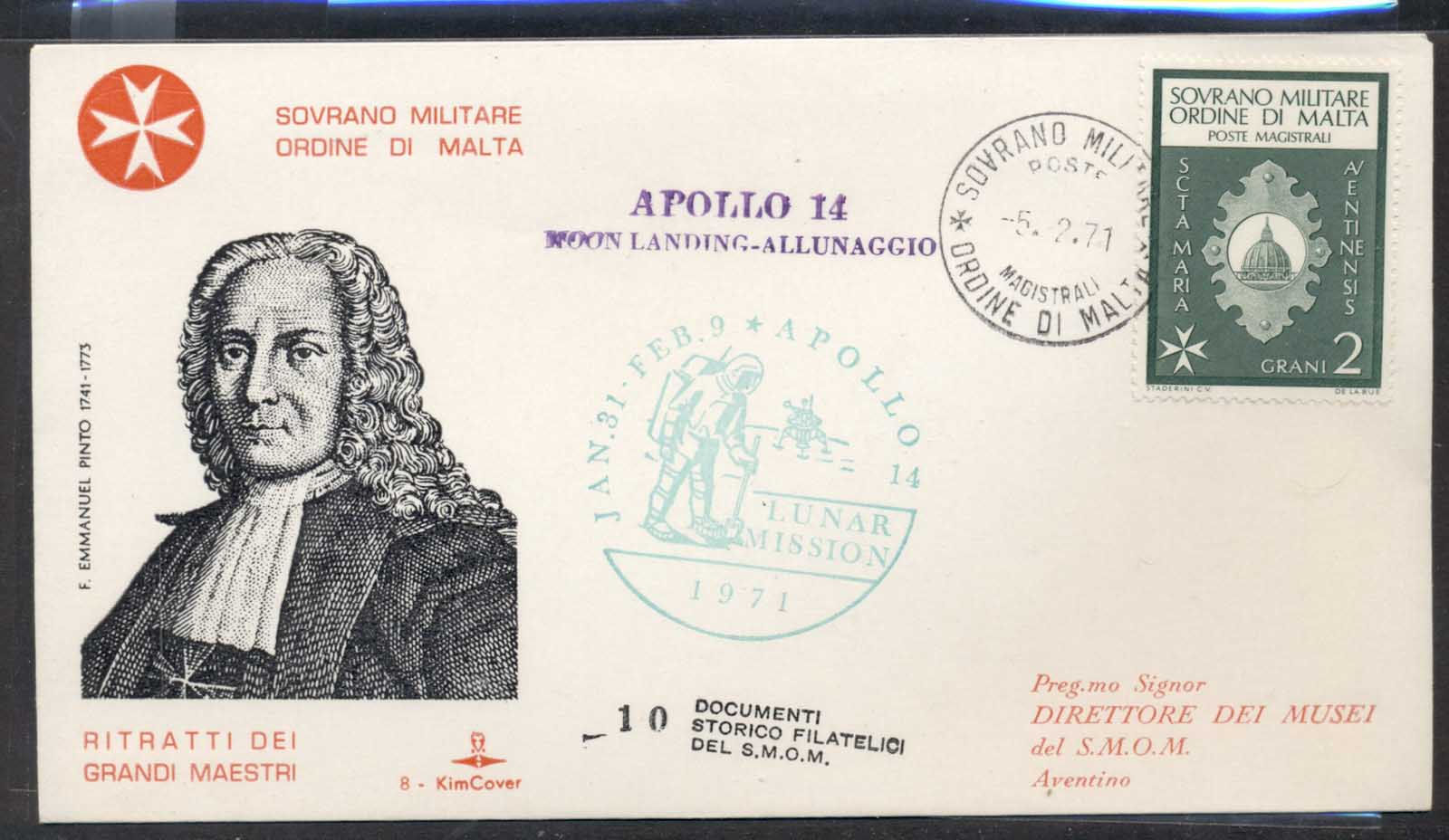 Malta 1971 Sovereign Military Order Apollo 14 Moon Landing FDC
