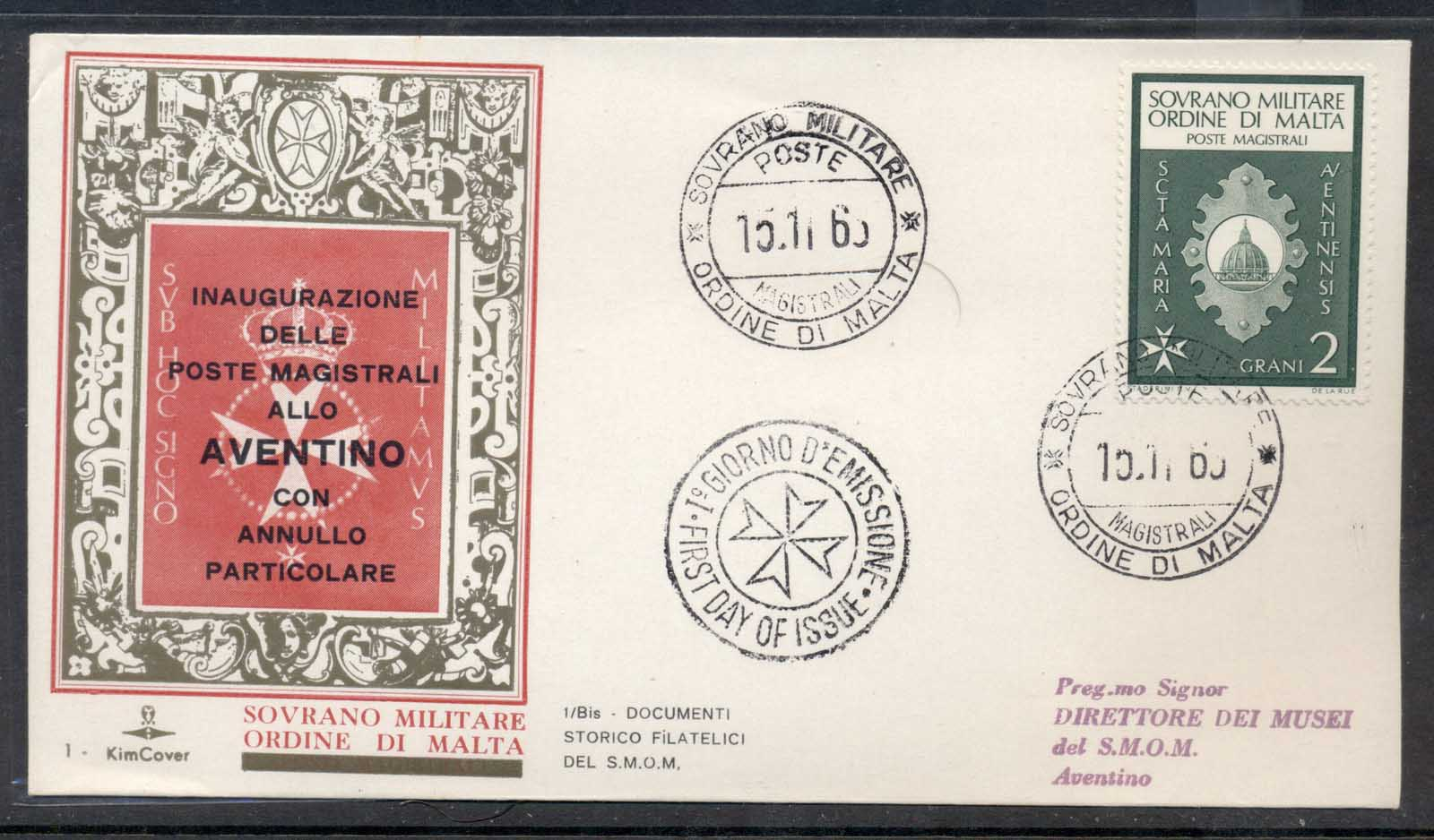 Malta 1969 Sovereign Military Order Post Inauguration FDC