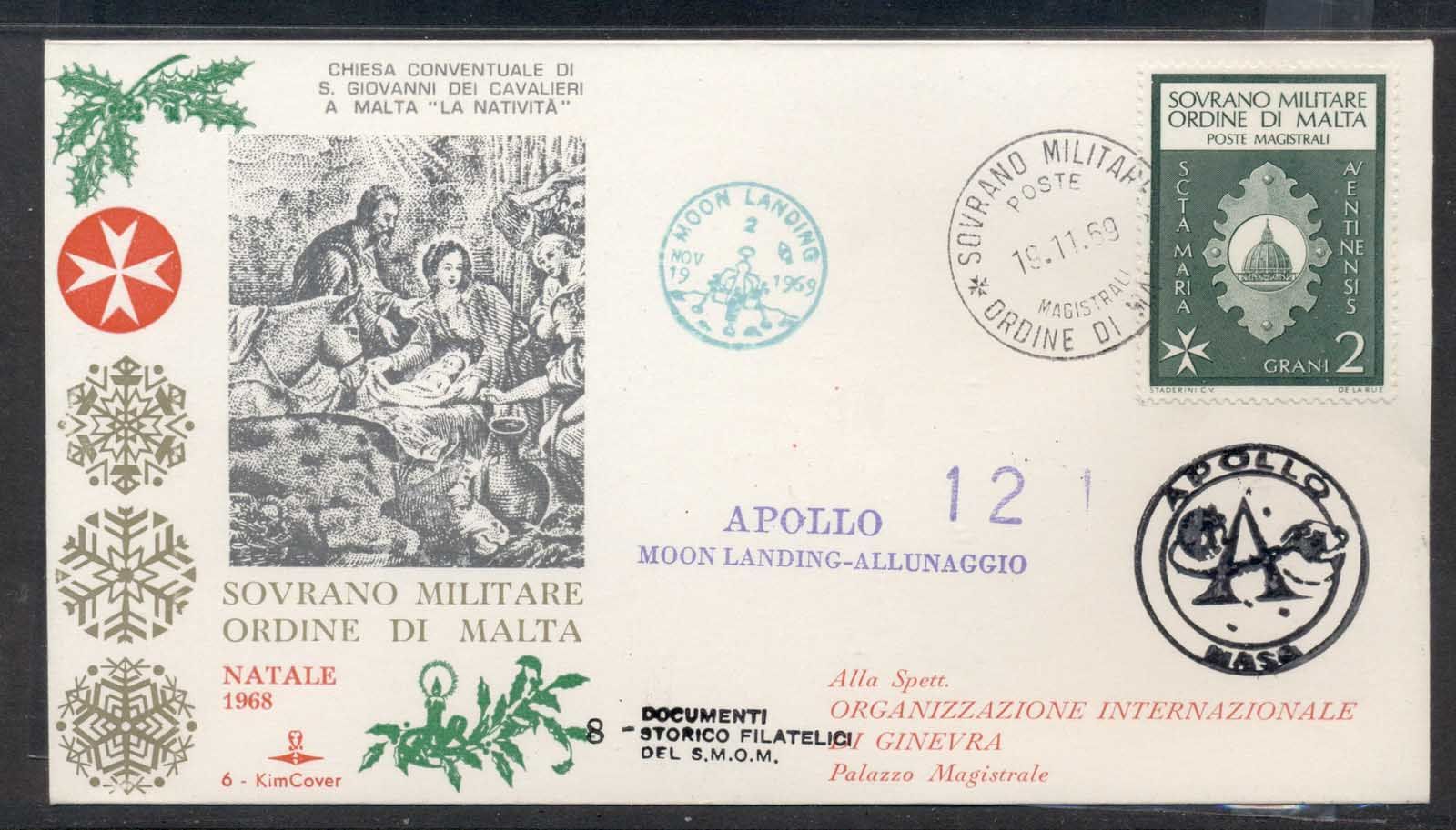Malta 1969 Sovereign Military Order Apollo 12 Moon Landing FDC
