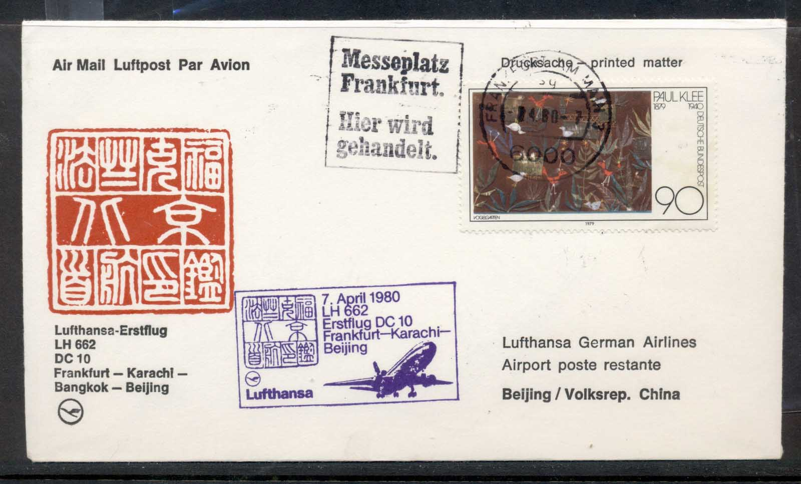 Germany 1980 First Flight DC10 Frankfurt-Karachi-Beijing cover