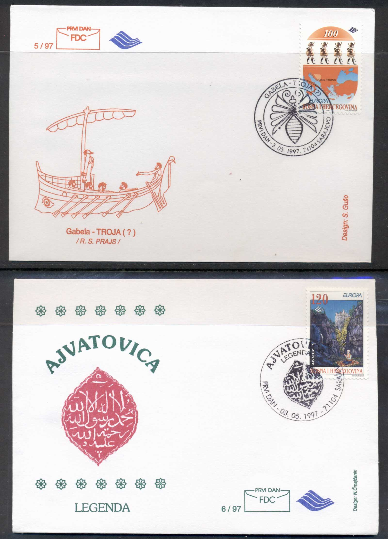 Bosnia Herzegovina 1997 Europa Myths & legends 2x FDC