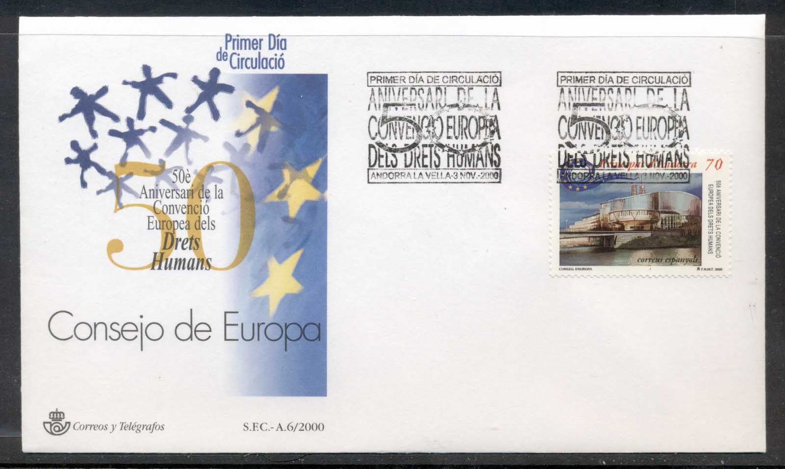 Andorra (Sp) 2000 Council of Europe FDC