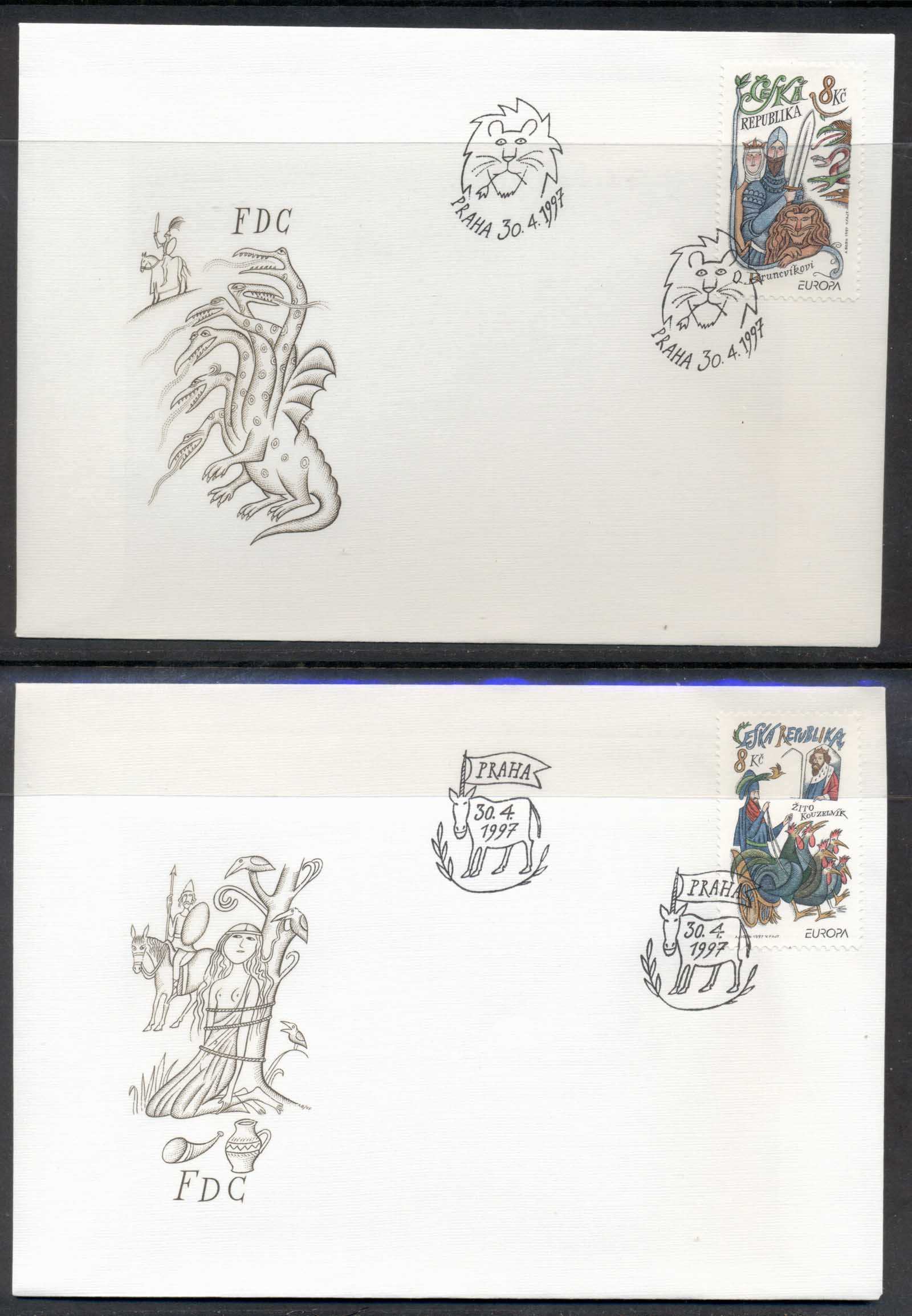 Czech Republic 1997 Europa Myths & legends 2x FDC